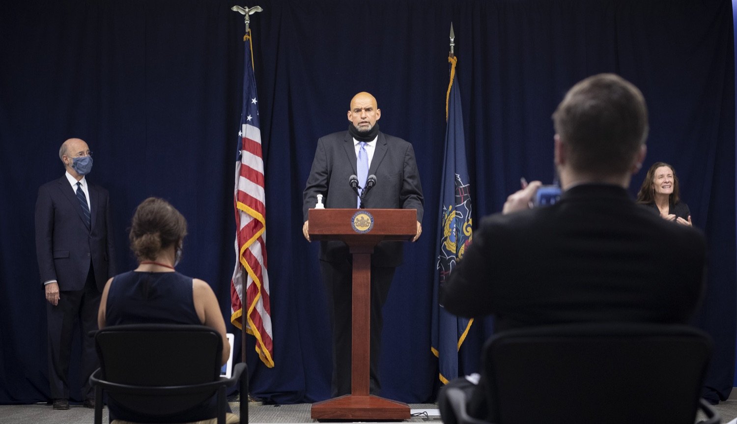 """<a href=""""https://filesource.wostreaming.net/commonwealthofpa/photo/18239_gov_recMarijuana_dz_024.jpg"""" target=""""_blank"""">⇣Download Photo<br></a>Lt. Gov. John Fetterman speaking with the press. Governor Tom Wolf and Lt. Governor John Fetterman today called on the legislature to take up the legalization of adult-use cannabis to help with the states economic recovery amid COVID-19. Legalization will also create more outlets for important restorative justice programs in the commonwealth.  Harrisburg, PA  Sept. 3, 2020"""