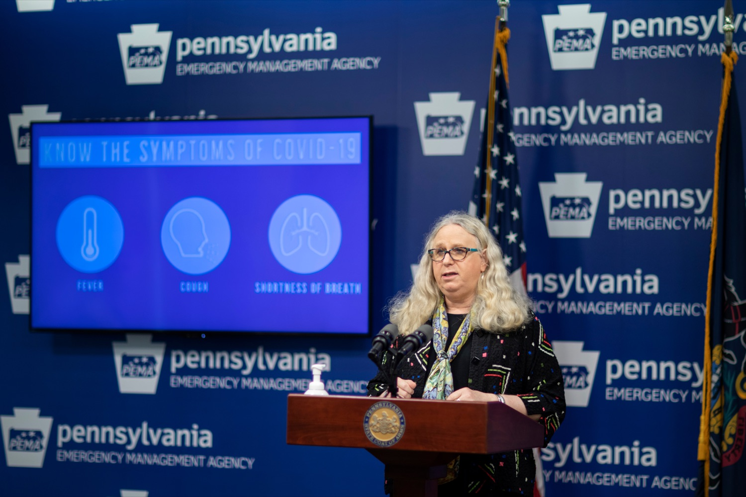 """<a href=""""https://filesource.wostreaming.net/commonwealthofpa/photo/18245_DOH_Covid_Update_NK_003.jpg"""" target=""""_blank"""">⇣Download Photo<br></a>Dr. Rachel Levine, secretary of the Pennsylvania Department of Health, speaks during a press conference addressing the 2019 Novel Coronavirus (COVID-19) in Pennsylvania, inside PEMA headquarters on Thursday, Sept. 3, 2020."""
