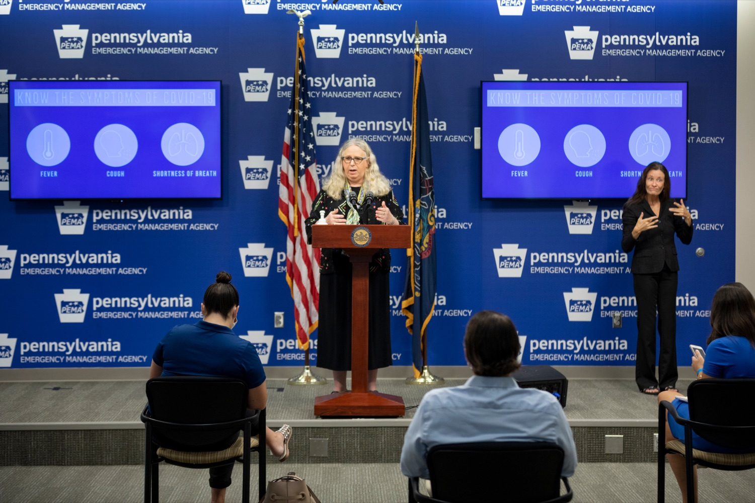"""<a href=""""https://filesource.wostreaming.net/commonwealthofpa/photo/18245_DOH_Covid_Update_NK_005.jpg"""" target=""""_blank"""">⇣Download Photo<br></a>Dr. Rachel Levine, secretary of the Pennsylvania Department of Health, speaks during a press conference addressing the 2019 Novel Coronavirus (COVID-19) in Pennsylvania, inside PEMA headquarters on Thursday, Sept. 3, 2020."""