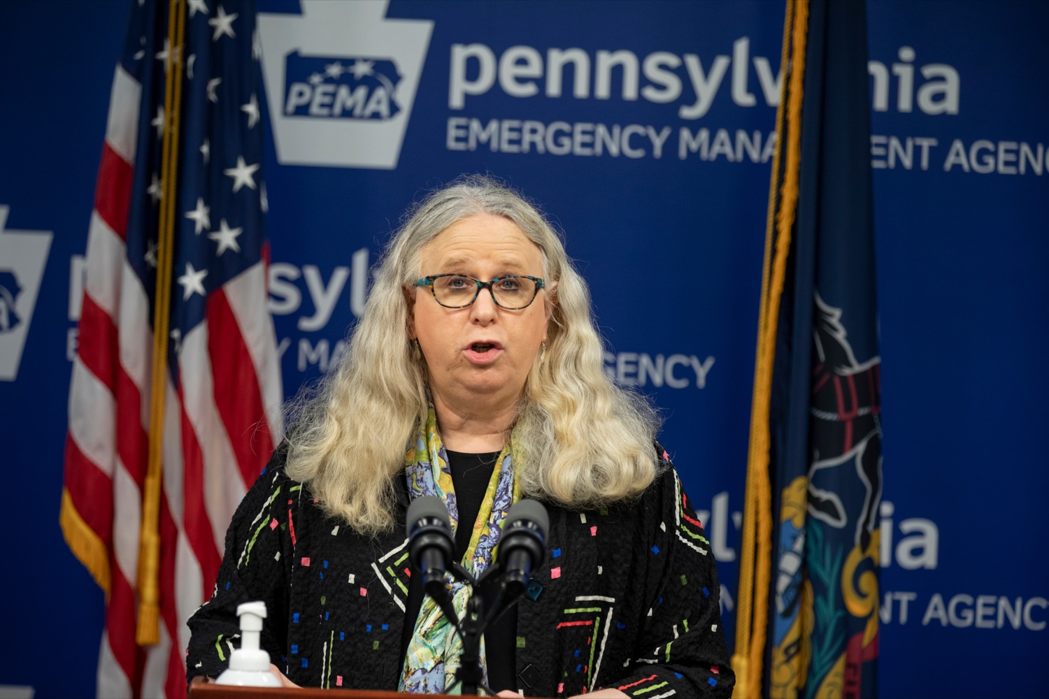 """<a href=""""https://filesource.wostreaming.net/commonwealthofpa/photo/18245_DOH_Covid_Update_NK_007.jpg"""" target=""""_blank"""">⇣Download Photo<br></a>Dr. Rachel Levine, secretary of the Pennsylvania Department of Health, speaks during a press conference addressing the 2019 Novel Coronavirus (COVID-19) in Pennsylvania, inside PEMA headquarters on Thursday, Sept. 3, 2020."""