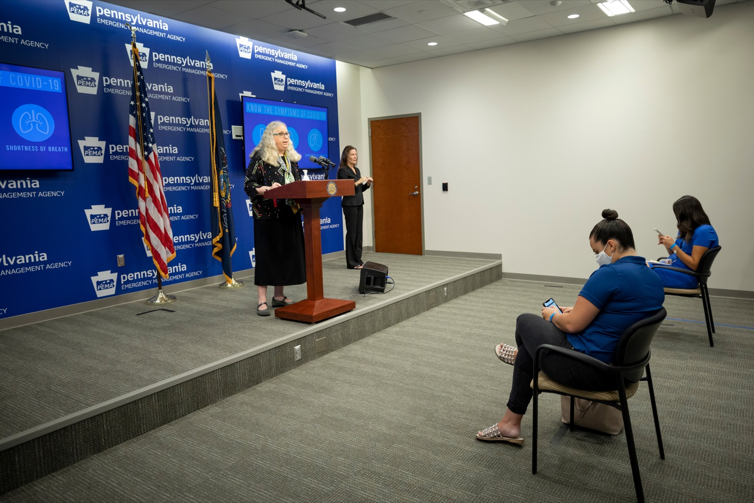"""<a href=""""https://filesource.wostreaming.net/commonwealthofpa/photo/18245_DOH_Covid_Update_NK_009.jpg"""" target=""""_blank"""">⇣Download Photo<br></a>Dr. Rachel Levine, secretary of the Pennsylvania Department of Health, speaks during a press conference addressing the 2019 Novel Coronavirus (COVID-19) in Pennsylvania, inside PEMA headquarters on Thursday, Sept. 3, 2020."""