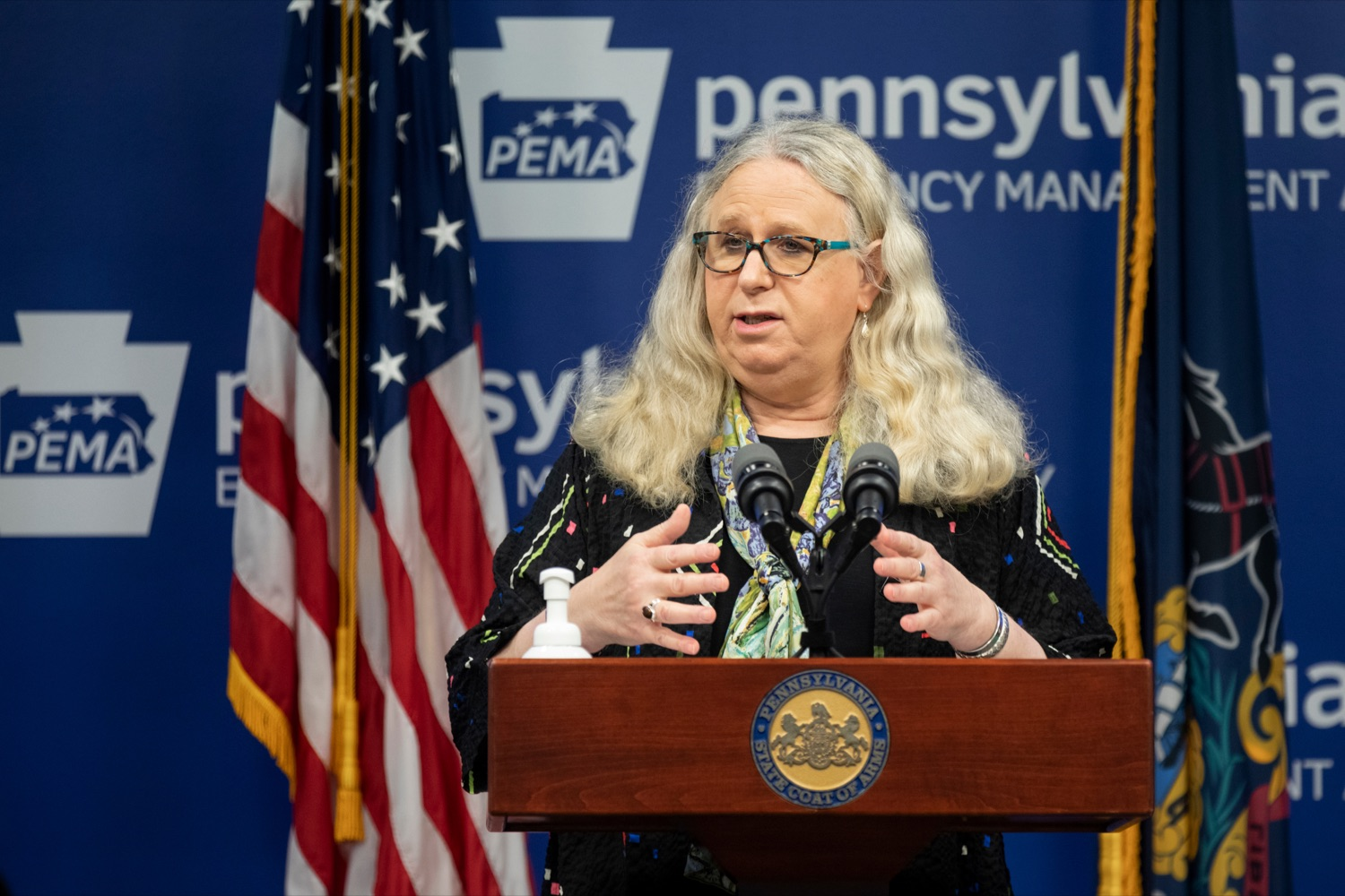"""<a href=""""https://filesource.wostreaming.net/commonwealthofpa/photo/18245_DOH_Covid_Update_NK_010.jpg"""" target=""""_blank"""">⇣Download Photo<br></a>Dr. Rachel Levine, secretary of the Pennsylvania Department of Health, speaks during a press conference addressing the 2019 Novel Coronavirus (COVID-19) in Pennsylvania, inside PEMA headquarters on Thursday, Sept. 3, 2020."""