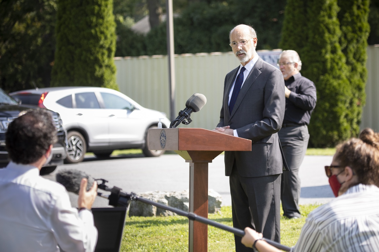 "<a href=""https://filesource.wostreaming.net/commonwealthofpa/photo/18248_gov_evictions_dz_033.jpg"" target=""_blank"">⇣ Download Photo<br></a>Pennsylvania Governor Tom Wolf speaking to the press. With rent and mortgage debt mounting for hundreds of thousands of Pennsylvanians, Governor Tom Wolf is calling on the General Assembly to fix a state relief program to prevent many families from becoming homeless and enact a moratorium on evictions and foreclosures until the end of the year. The governor was joined today by legislators and housing advocates at a press conference in Lancaster County. Harrisburg, PA  Sept. 8, 2020"