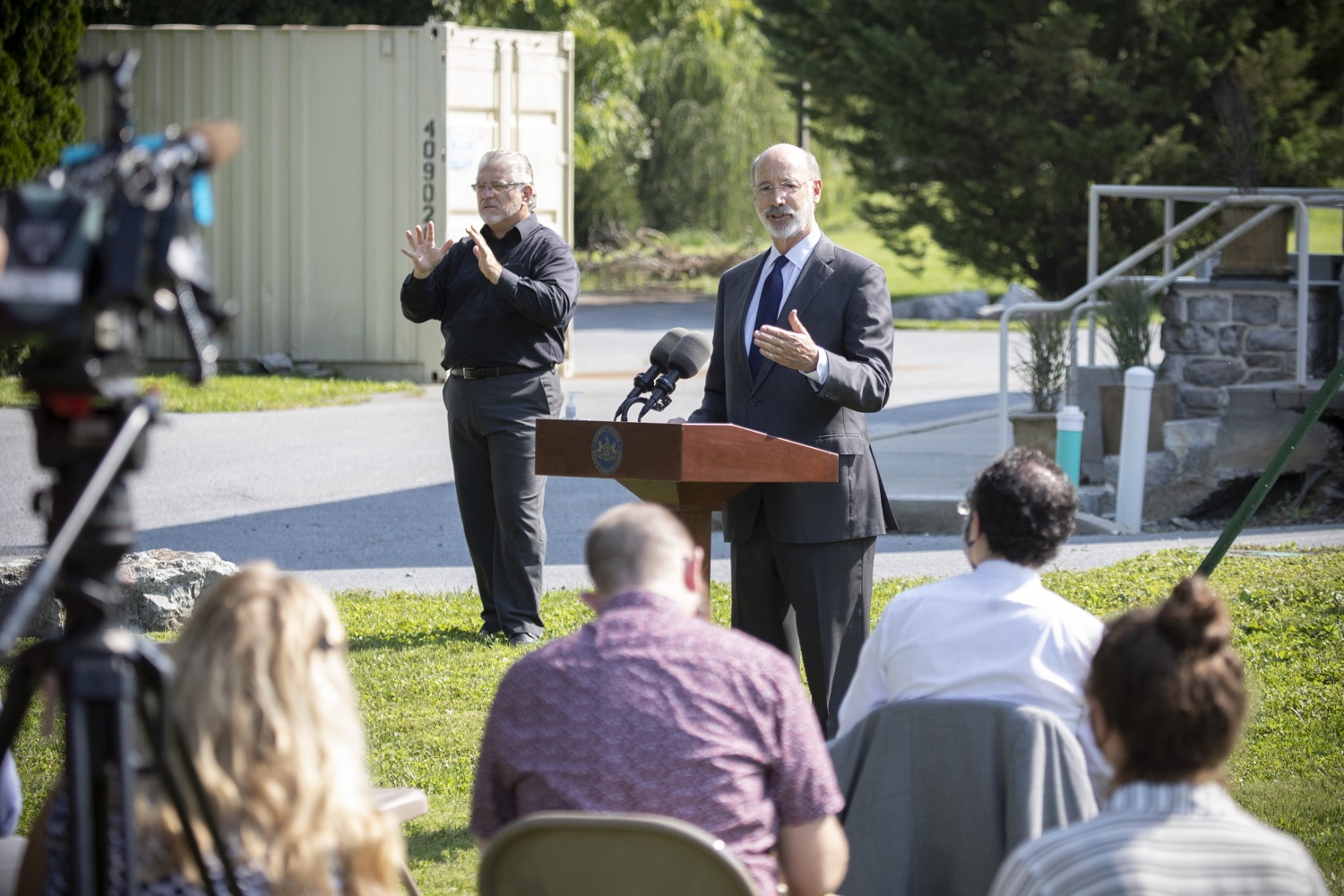 "<a href=""https://filesource.wostreaming.net/commonwealthofpa/photo/18248_gov_evictions_dz_041.jpg"" target=""_blank"">⇣ Download Photo<br></a>Pennsylvania Governor Tom Wolf speaking to the press. With rent and mortgage debt mounting for hundreds of thousands of Pennsylvanians, Governor Tom Wolf is calling on the General Assembly to fix a state relief program to prevent many families from becoming homeless and enact a moratorium on evictions and foreclosures until the end of the year. The governor was joined today by legislators and housing advocates at a press conference in Lancaster County. Harrisburg, PA  Sept. 8, 2020"