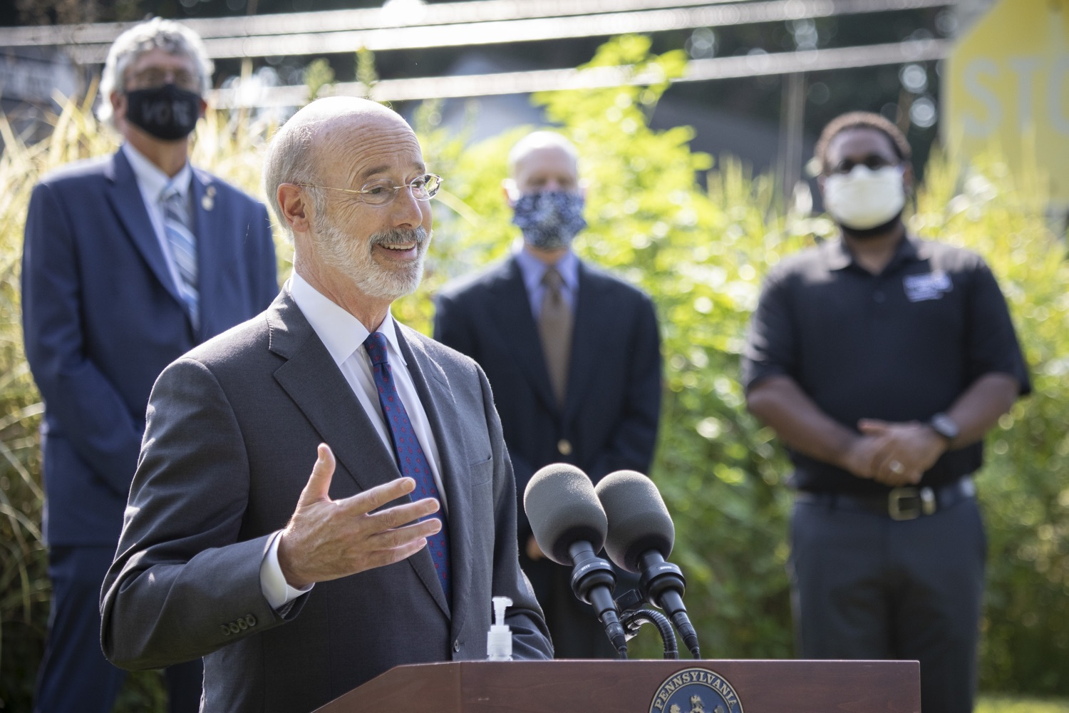 "<a href=""https://filesource.wostreaming.net/commonwealthofpa/photo/18248_gov_evictions_dz_043.jpg"" target=""_blank"">⇣ Download Photo<br></a>Pennsylvania Governor Tom Wolf speaking to the press. With rent and mortgage debt mounting for hundreds of thousands of Pennsylvanians, Governor Tom Wolf is calling on the General Assembly to fix a state relief program to prevent many families from becoming homeless and enact a moratorium on evictions and foreclosures until the end of the year. The governor was joined today by legislators and housing advocates at a press conference in Lancaster County. Harrisburg, PA  Sept. 8, 2020"