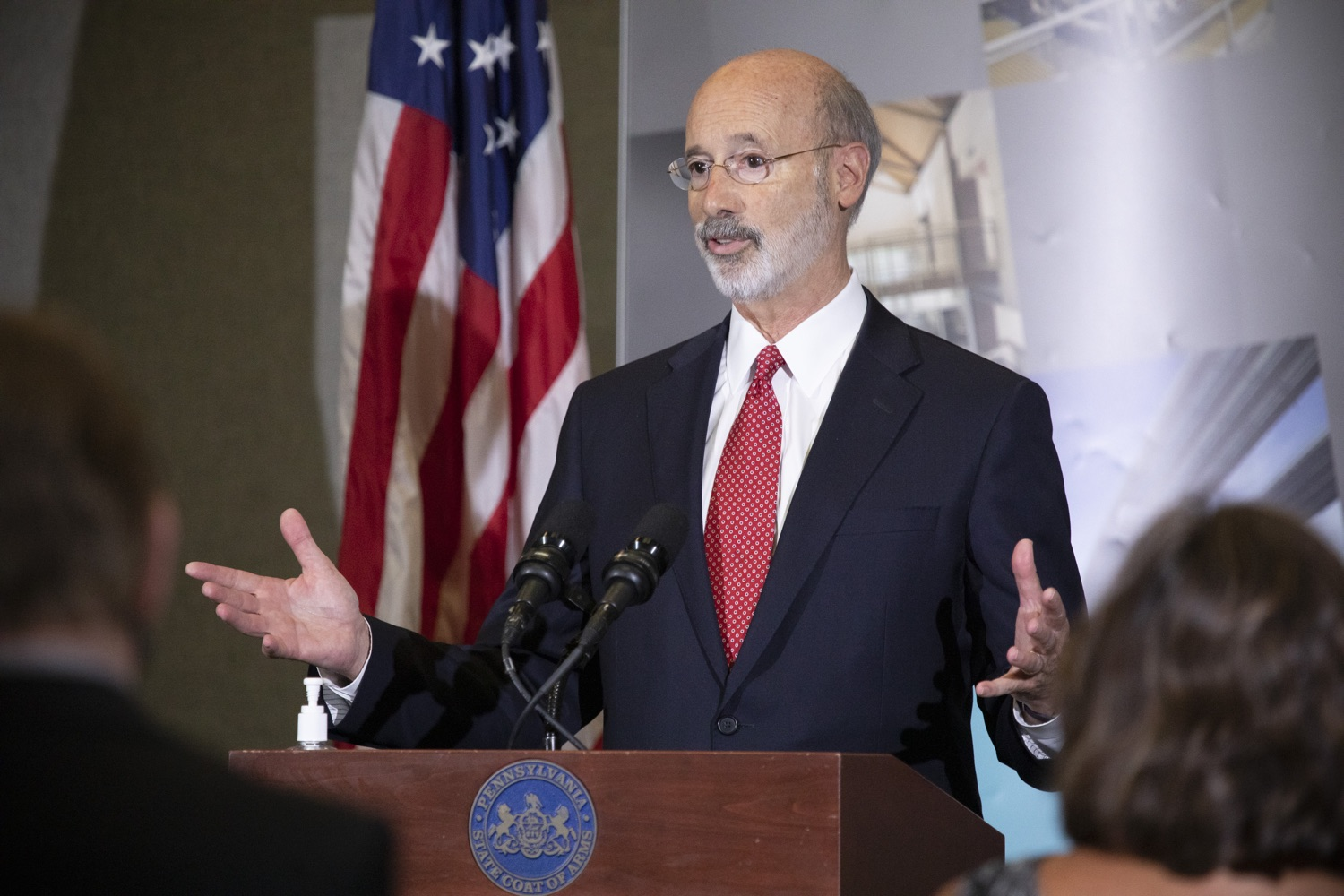"<a href=""https://filesource.wostreaming.net/commonwealthofpa/photo/18250_gov_covidFunding_dz_005.jpg"" target=""_blank"">⇣ Download Photo<br></a>Pennsylvania Governor Tom Wolf speaking to the press.  As small businesses continue to feel an economic impact of the COVID-19 public health crisis, Governor Tom Wolf today called on the General Assembly to provide additional funding to support these businesses. The governor was joined by the York County Economic Alliance, local elected officials and business advocates.  York, PA  September 10, 2020"