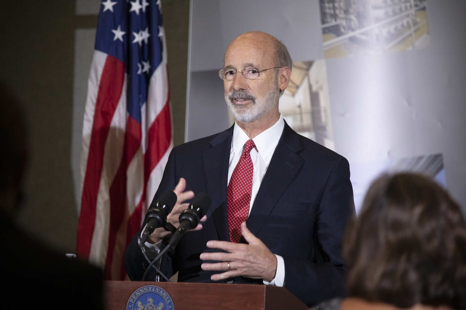 "<a href=""https://filesource.wostreaming.net/commonwealthofpa/photo/18250_gov_covidFunding_dz_008.jpg"" target=""_blank"">⇣ Download Photo<br></a>Pennsylvania Governor Tom Wolf speaking to the press.  As small businesses continue to feel an economic impact of the COVID-19 public health crisis, Governor Tom Wolf today called on the General Assembly to provide additional funding to support these businesses. The governor was joined by the York County Economic Alliance, local elected officials and business advocates.  York, PA  September 10, 2020"