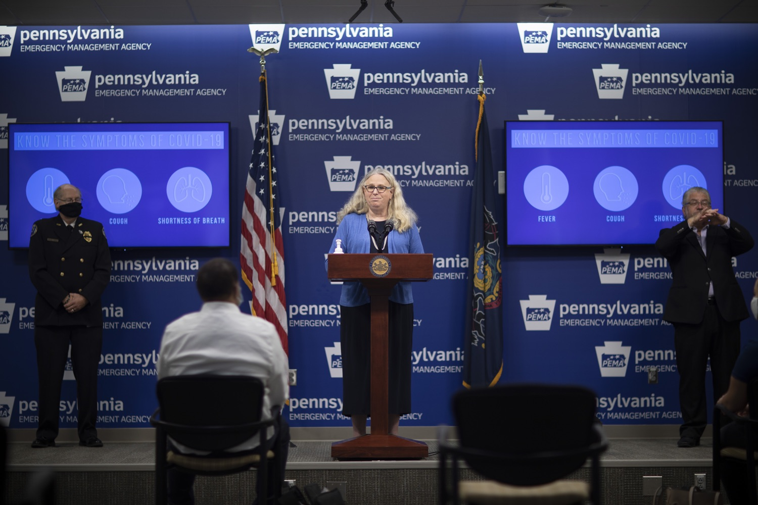 """<a href=""""https://filesource.wostreaming.net/commonwealthofpa/photo/18254_doh_covidUpdate_dz_004.jpg"""" target=""""_blank"""">⇣Download Photo<br></a>Secretary of Health for the Commonwealth of Pennsylvania Dr. Rachel Levine speaking to the press.  The Pennsylvania Department of Health today confirmed as of 12:00 a.m., September 11, that there are 1,008 additional positive cases of COVID-19, bringing the statewide total to 142,885. All 67 counties in Pennsylvania have cases of COVID-19. Harrisburg, PA - September 11, 2020"""