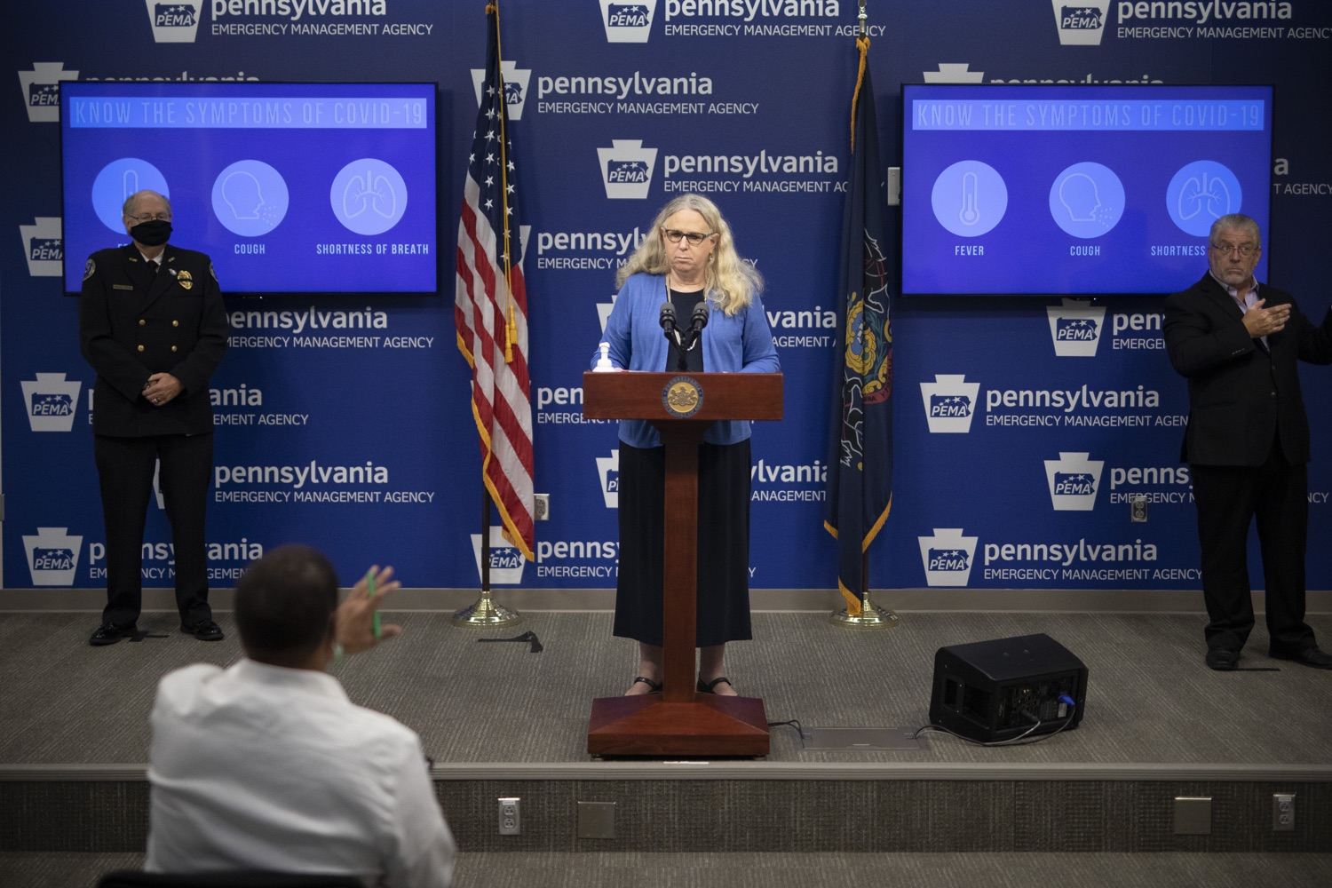 """<a href=""""https://filesource.wostreaming.net/commonwealthofpa/photo/18254_doh_covidUpdate_dz_010.jpg"""" target=""""_blank"""">⇣Download Photo<br></a>Secretary of Health for the Commonwealth of Pennsylvania Dr. Rachel Levine speaking to the press.  The Pennsylvania Department of Health today confirmed as of 12:00 a.m., September 11, that there are 1,008 additional positive cases of COVID-19, bringing the statewide total to 142,885. All 67 counties in Pennsylvania have cases of COVID-19. Harrisburg, PA - September 11, 2020"""
