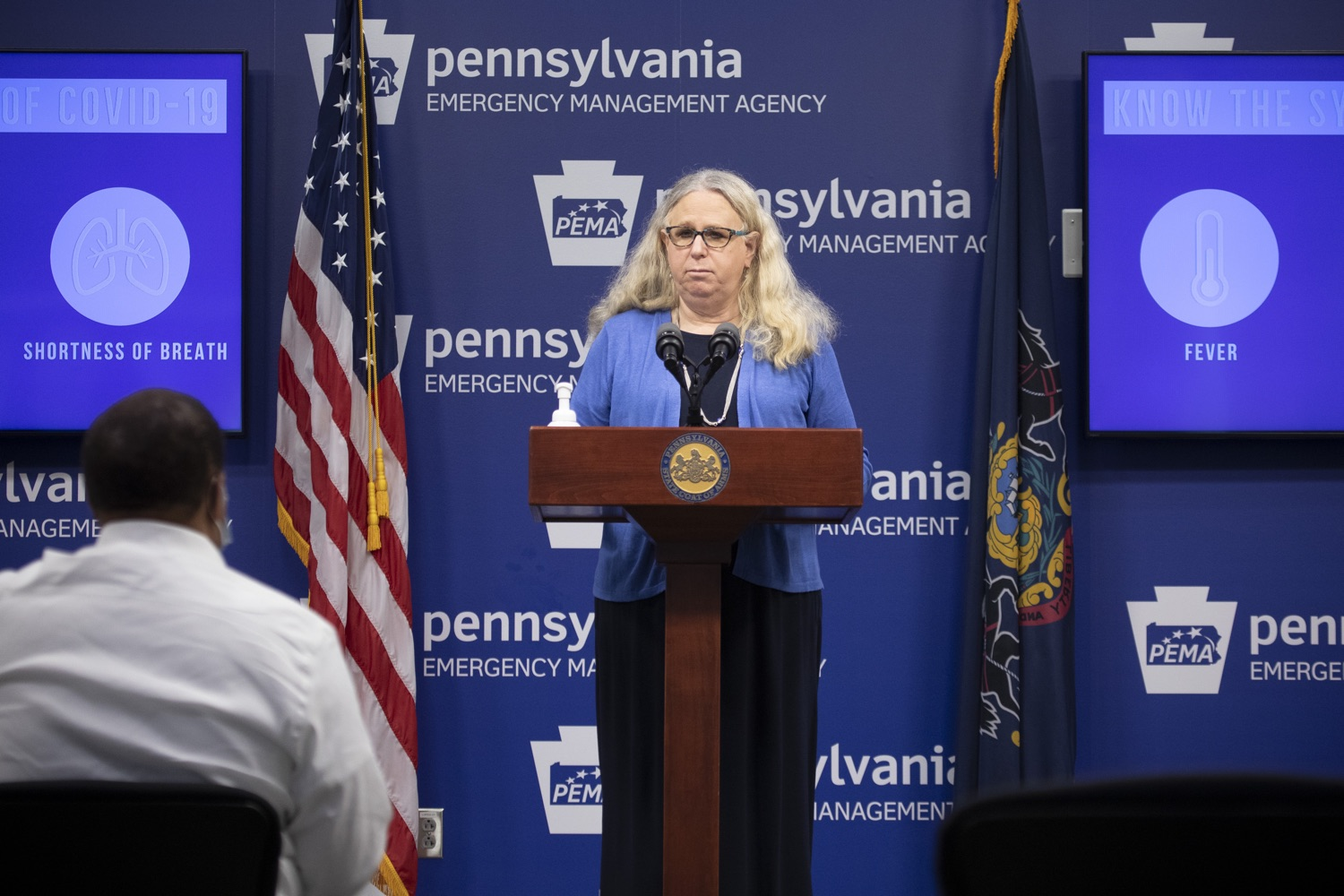 """<a href=""""https://filesource.wostreaming.net/commonwealthofpa/photo/18254_doh_covidUpdate_dz_012.jpg"""" target=""""_blank"""">⇣Download Photo<br></a>Secretary of Health for the Commonwealth of Pennsylvania Dr. Rachel Levine speaking to the press.  The Pennsylvania Department of Health today confirmed as of 12:00 a.m., September 11, that there are 1,008 additional positive cases of COVID-19, bringing the statewide total to 142,885. All 67 counties in Pennsylvania have cases of COVID-19. Harrisburg, PA - September 11, 2020"""