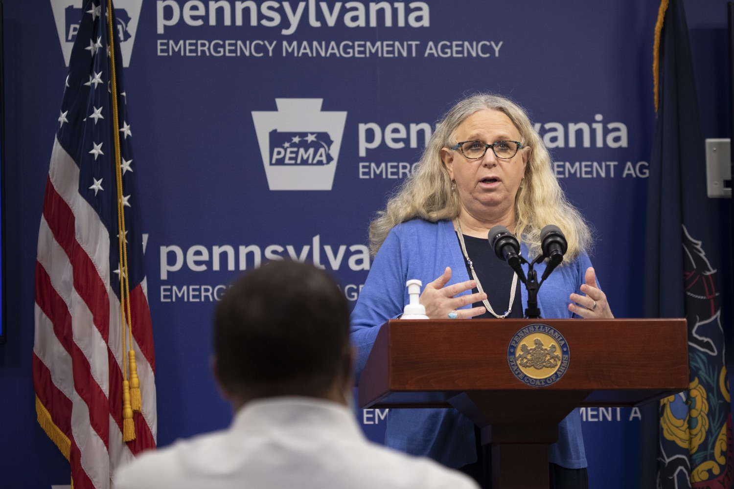 """<a href=""""https://filesource.wostreaming.net/commonwealthofpa/photo/18254_doh_covidUpdate_dz_013.jpg"""" target=""""_blank"""">⇣Download Photo<br></a>Secretary of Health for the Commonwealth of Pennsylvania Dr. Rachel Levine speaking to the press.  The Pennsylvania Department of Health today confirmed as of 12:00 a.m., September 11, that there are 1,008 additional positive cases of COVID-19, bringing the statewide total to 142,885. All 67 counties in Pennsylvania have cases of COVID-19. Harrisburg, PA - September 11, 2020"""