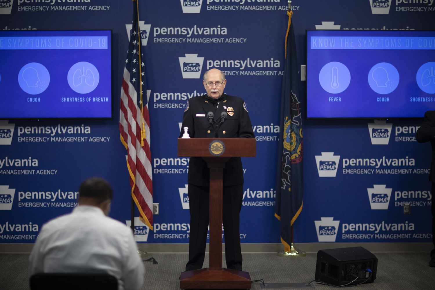 """<a href=""""https://filesource.wostreaming.net/commonwealthofpa/photo/18254_doh_covidUpdate_dz_014.jpg"""" target=""""_blank"""">⇣Download Photo<br></a>Bruce Trego, Pennsylvania State Fire Commissioner speaking to the press.The Pennsylvania Department of Health today confirmed as of 12:00 a.m., September 11, that there are 1,008 additional positive cases of COVID-19, bringing the statewide total to 142,885. All 67 counties in Pennsylvania have cases of COVID-19. Harrisburg, PA - September 11, 2020"""