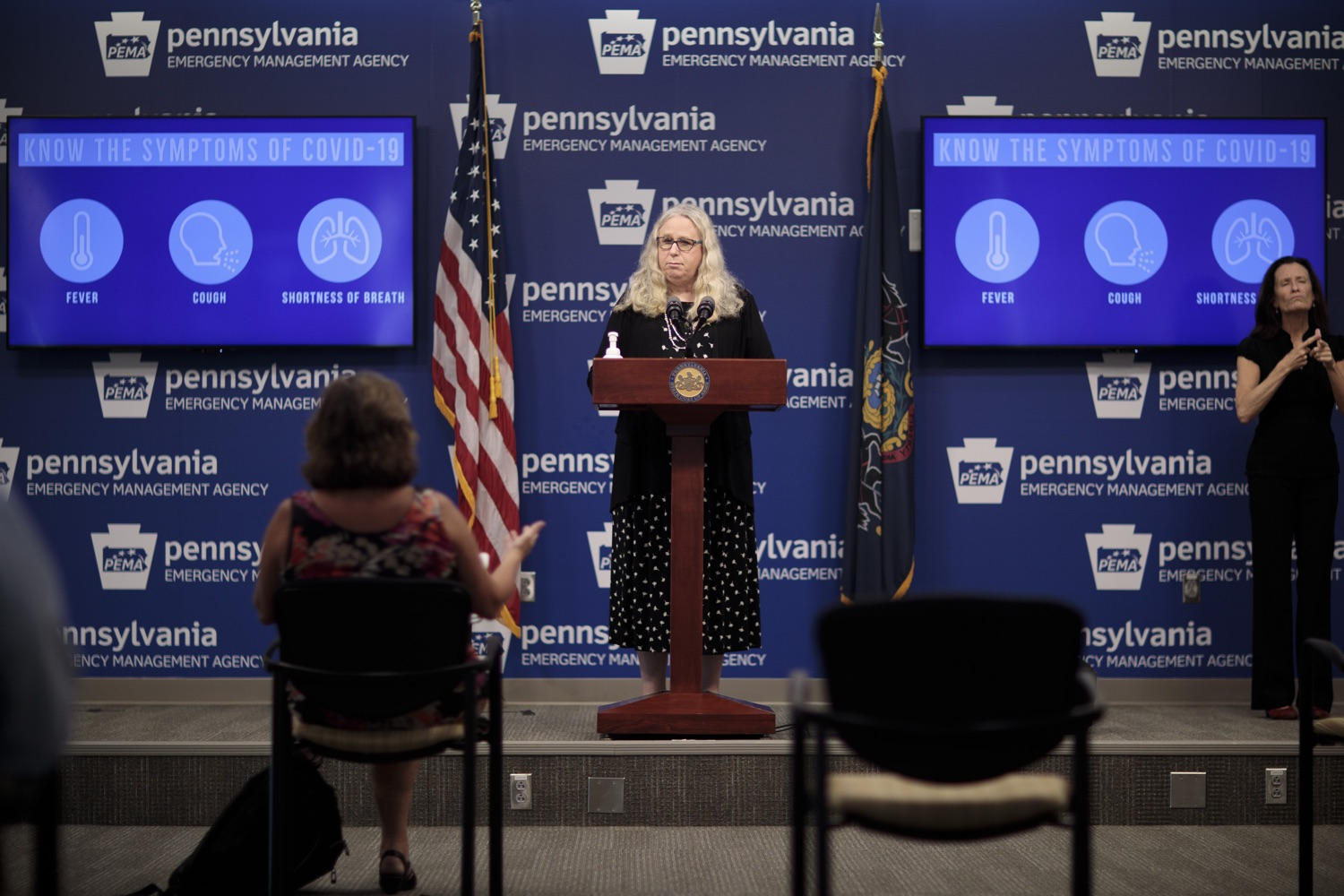 "<a href=""https://filesource.wostreaming.net/commonwealthofpa/photo/18258_doh_covidUpdate_dz_003.jpg"" target=""_blank"">⇣ Download Photo<br></a>Pennsylvania Secretary of Health Dr. Rachel Levine speaking to the press.  The Pennsylvania Department of Health today confirmed as of 12:00 a.m., September 14, that there were 638 additional positive cases of COVID-19 on September 13 and 620 additional positive cases of COVID-19 on September 14, bringing the statewide total to 145,063. All 67 counties in Pennsylvania have cases of COVID-19.  SEPTEMBER 14, 2020 - HARRISBURG, PA"