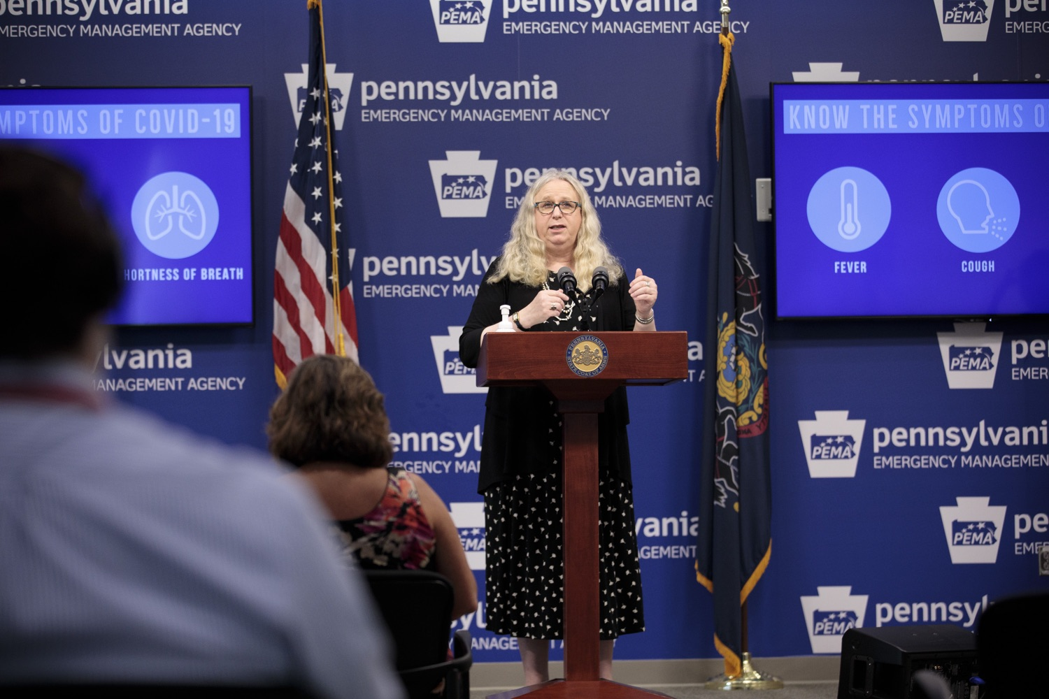 "<a href=""https://filesource.wostreaming.net/commonwealthofpa/photo/18258_doh_covidUpdate_dz_007.jpg"" target=""_blank"">⇣ Download Photo<br></a>Pennsylvania Secretary of Health Dr. Rachel Levine speaking to the press.  The Pennsylvania Department of Health today confirmed as of 12:00 a.m., September 14, that there were 638 additional positive cases of COVID-19 on September 13 and 620 additional positive cases of COVID-19 on September 14, bringing the statewide total to 145,063. All 67 counties in Pennsylvania have cases of COVID-19.  SEPTEMBER 14, 2020 - HARRISBURG, PA"