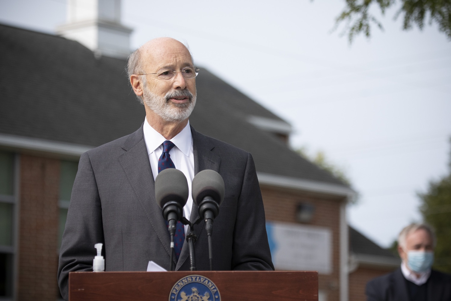 "<a href=""https://filesource.wostreaming.net/commonwealthofpa/photo/18259_gov_electionReform_dz_012.jpg"" target=""_blank"">⇣ Download Photo<br></a>Pennsylvania Governor Tom Wolf speaking to the press.  With only seven weeks left before the Nov. 3 election, Governor Tom Wolf is urging immediate legislative action to ensure voters receive their mail-in ballots early and give counties more time to process and count ballots before election day. The governor also reassured Pennsylvanians that in-person voting is safe, and all eligible votes will be counted. SEPTEMBER 14, 2020 - YORK, PA."
