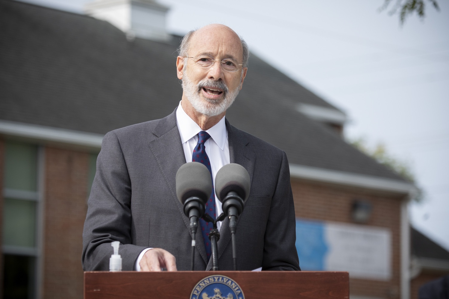 "<a href=""https://filesource.wostreaming.net/commonwealthofpa/photo/18259_gov_electionReform_dz_017.jpg"" target=""_blank"">⇣ Download Photo<br></a>Pennsylvania Governor Tom Wolf speaking to the press.  With only seven weeks left before the Nov. 3 election, Governor Tom Wolf is urging immediate legislative action to ensure voters receive their mail-in ballots early and give counties more time to process and count ballots before election day. The governor also reassured Pennsylvanians that in-person voting is safe, and all eligible votes will be counted. SEPTEMBER 14, 2020 - YORK, PA."