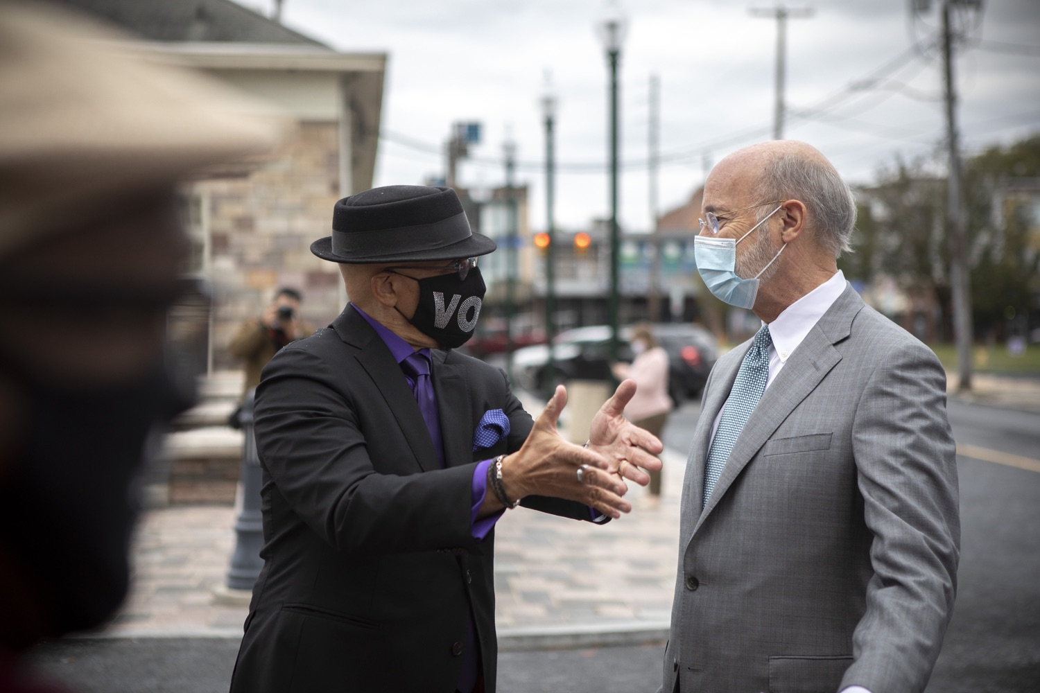 """<a href=""""https://filesource.wostreaming.net/commonwealthofpa/photo/18299_gov_covidgrant_dz_005.jpg"""" target=""""_blank"""">⇣Download Photo<br></a>Pennsylvania Governor Tom Wolf speaks Senator Vincent Hughes before the event. Governor Tom Wolf today announced that an additional $96 million in state grants have been approved for 5,373 Pennsylvania small businesses that were impacted by the business closure order due to the COVID-19 public health crisis. Harrisburg, PA  October 5, 2020"""