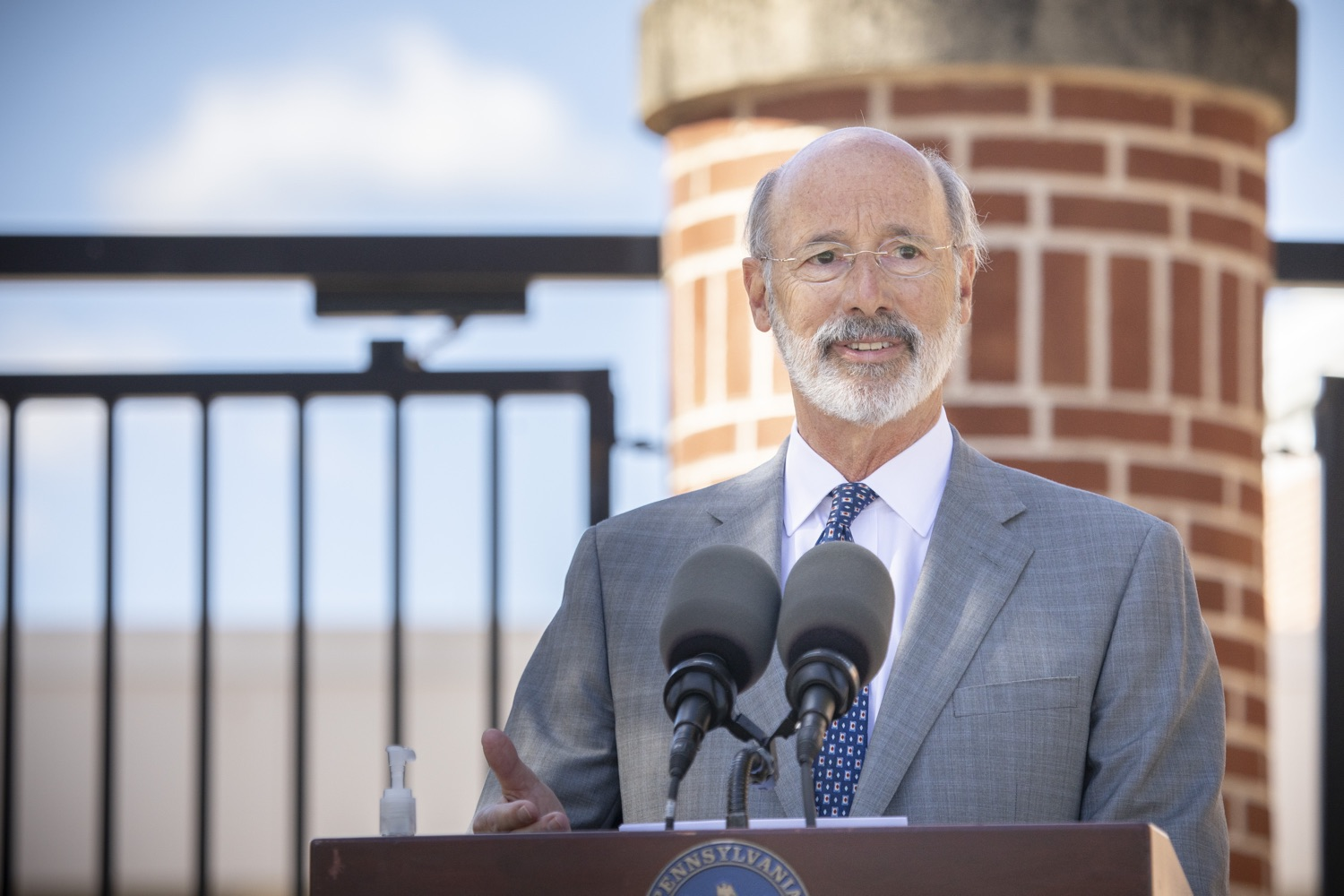 "<a href=""https://filesource.wostreaming.net/commonwealthofpa/photo/18306_gov_aca_dz_001.jpg"" target=""_blank"">⇣ Download Photo<br></a>Pennsylvania Governor Tom Wolf speaking with the press.  Governor Tom Wolf today amplified his call to protect the ACA and provide health care for all amid threats as the US Senate Judiciary Committee hearings to confirm conservative Judge Amy Coney Barrett to the Supreme Court begin next week and the pandemic ramps up across the country. York, PA  October 8, 2020"