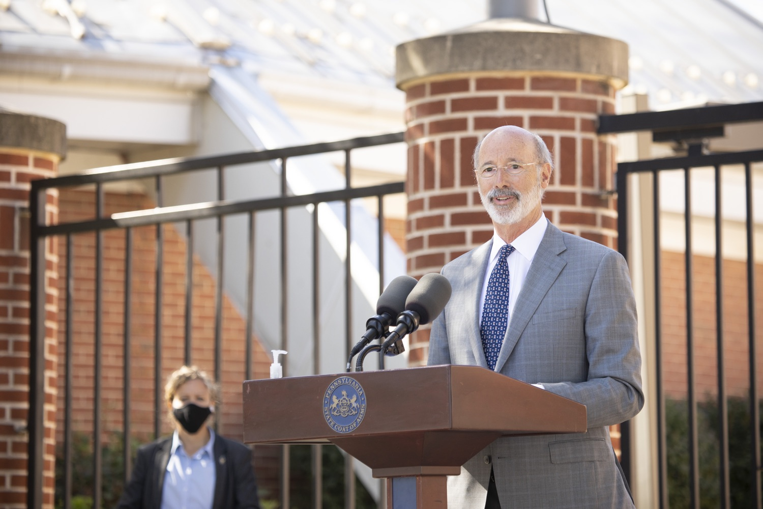 "<a href=""https://filesource.wostreaming.net/commonwealthofpa/photo/18306_gov_aca_dz_003.jpg"" target=""_blank"">⇣ Download Photo<br></a>Pennsylvania Governor Tom Wolf speaking with the press.  Governor Tom Wolf today amplified his call to protect the ACA and provide health care for all amid threats as the US Senate Judiciary Committee hearings to confirm conservative Judge Amy Coney Barrett to the Supreme Court begin next week and the pandemic ramps up across the country. York, PA  October 8, 2020"