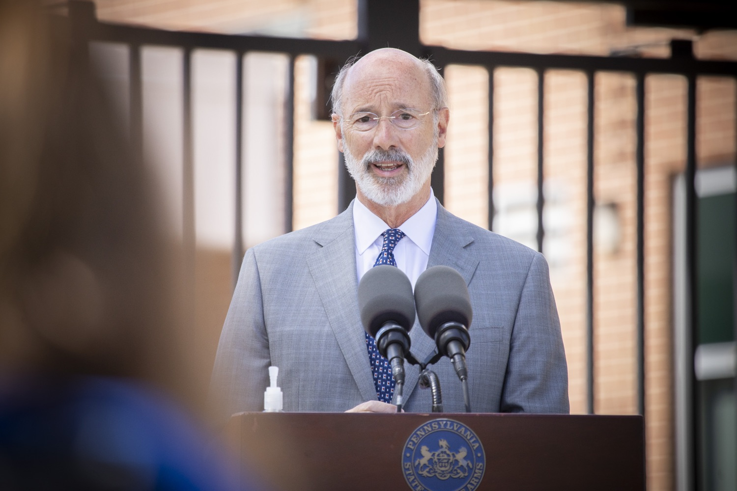"<a href=""https://filesource.wostreaming.net/commonwealthofpa/photo/18306_gov_aca_dz_016.jpg"" target=""_blank"">⇣ Download Photo<br></a>Pennsylvania Governor Tom Wolf speaking with the press.  Governor Tom Wolf today amplified his call to protect the ACA and provide health care for all amid threats as the US Senate Judiciary Committee hearings to confirm conservative Judge Amy Coney Barrett to the Supreme Court begin next week and the pandemic ramps up across the country. York, PA  October 8, 2020"