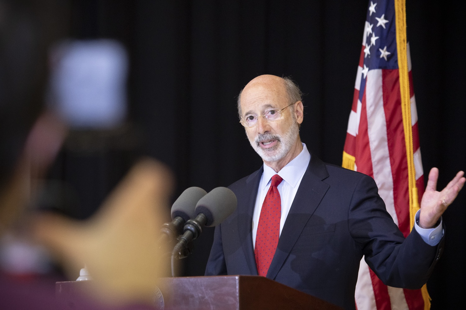 """<a href=""""https://filesource.wostreaming.net/commonwealthofpa/photo/18310_gov_adult_use_cannabis_dz_001.jpg"""" target=""""_blank"""">⇣Download Photo<br></a>Governor Tom Wolf speaks to the press.Governor Tom Wolf visited The Mountain Center in Tobyhanna, Monroe County today to talk about the economic growth potential and restorative justice benefits of legalizing adult-use cannabis, something the state General Assembly has not yet done despite multiple requests from the governor and Lieutenant Governor John Fetterman to take up legislation this fall.  Tobyhanna, PA  October 13, 2020"""