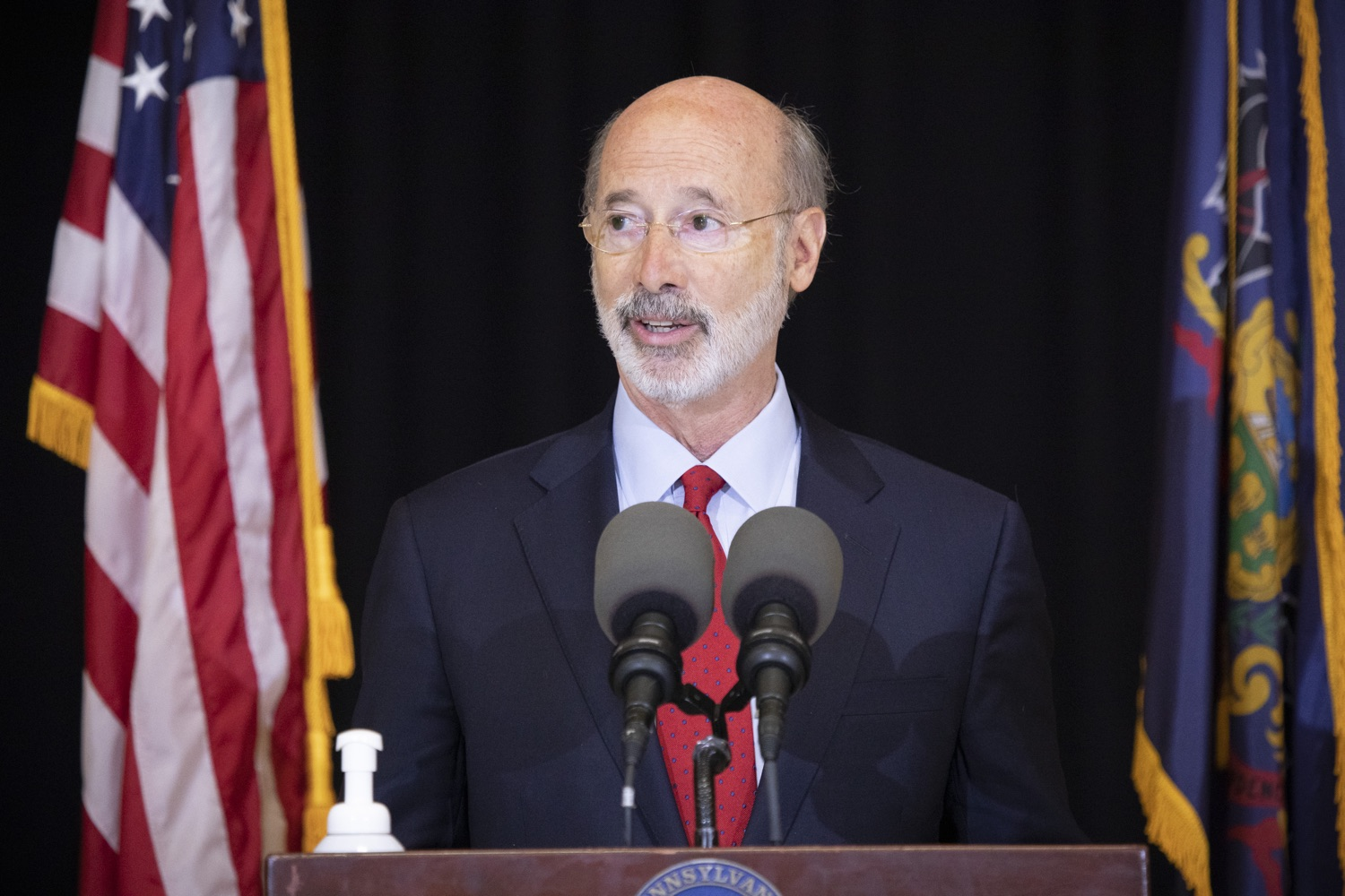 """<a href=""""https://filesource.wostreaming.net/commonwealthofpa/photo/18310_gov_adult_use_cannabis_dz_002.jpg"""" target=""""_blank"""">⇣Download Photo<br></a>Governor Tom Wolf speaks to the press.Governor Tom Wolf visited The Mountain Center in Tobyhanna, Monroe County today to talk about the economic growth potential and restorative justice benefits of legalizing adult-use cannabis, something the state General Assembly has not yet done despite multiple requests from the governor and Lieutenant Governor John Fetterman to take up legislation this fall.  Tobyhanna, PA  October 13, 2020"""
