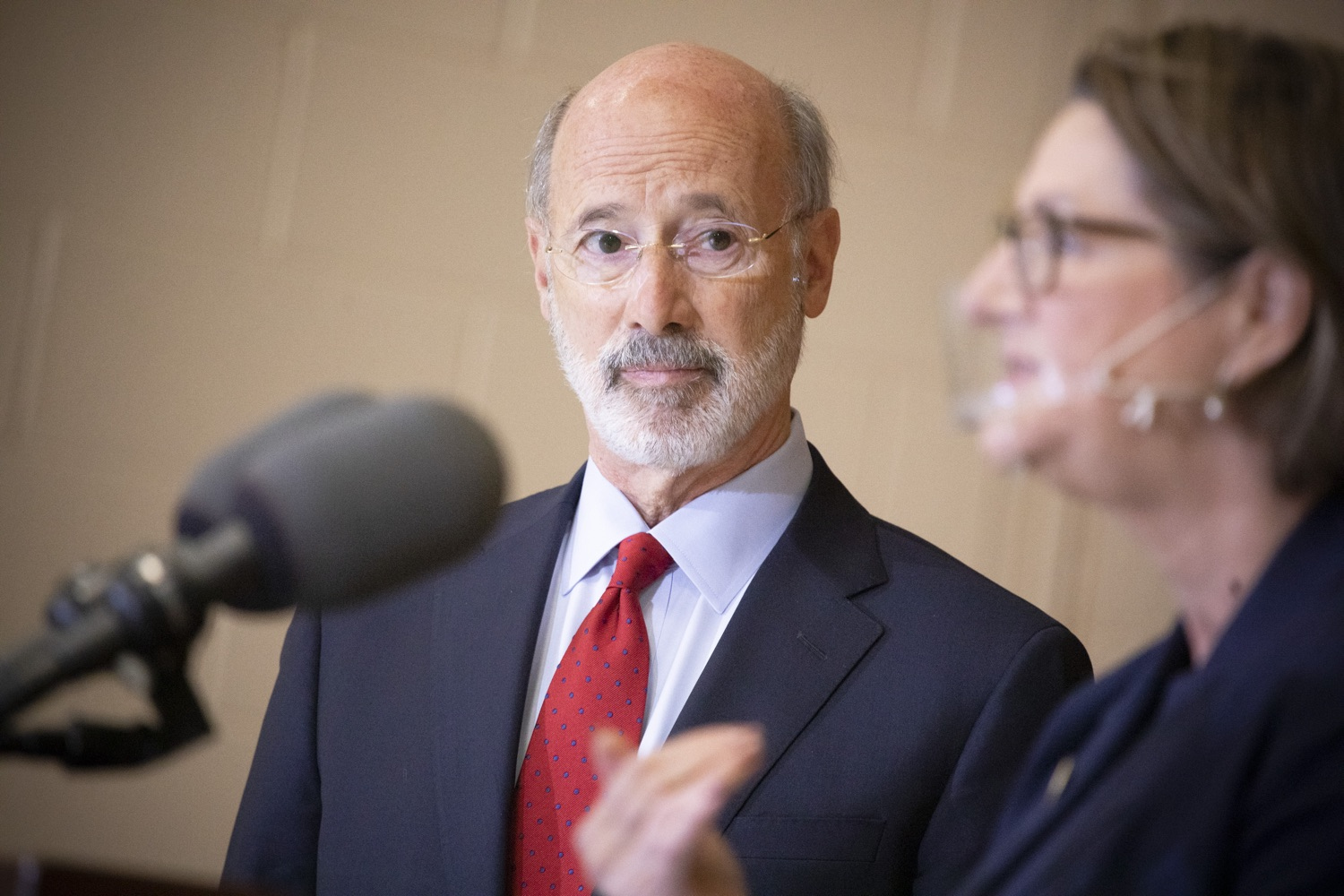 """<a href=""""https://filesource.wostreaming.net/commonwealthofpa/photo/18310_gov_adult_use_cannabis_dz_007.jpg"""" target=""""_blank"""">⇣Download Photo<br></a>Governor Tom Wolf listens as Rep. Maureen Madden  speaks to the press.Governor Tom Wolf visited The Mountain Center in Tobyhanna, Monroe County today to talk about the economic growth potential and restorative justice benefits of legalizing adult-use cannabis, something the state General Assembly has not yet done despite multiple requests from the governor and Lieutenant Governor John Fetterman to take up legislation this fall.  Tobyhanna, PA  October 13, 2020"""