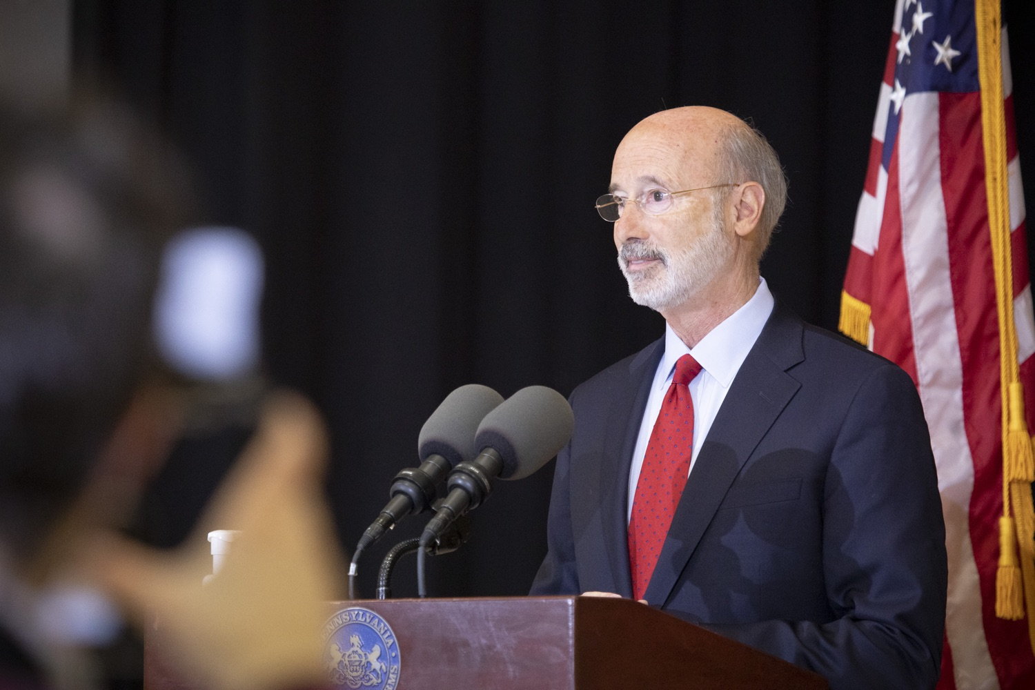 """<a href=""""https://filesource.wostreaming.net/commonwealthofpa/photo/18310_gov_adult_use_cannabis_dz_011.jpg"""" target=""""_blank"""">⇣Download Photo<br></a>Governor Tom Wolf speaks to the press.Governor Tom Wolf visited The Mountain Center in Tobyhanna, Monroe County today to talk about the economic growth potential and restorative justice benefits of legalizing adult-use cannabis, something the state General Assembly has not yet done despite multiple requests from the governor and Lieutenant Governor John Fetterman to take up legislation this fall.  Tobyhanna, PA  October 13, 2020"""