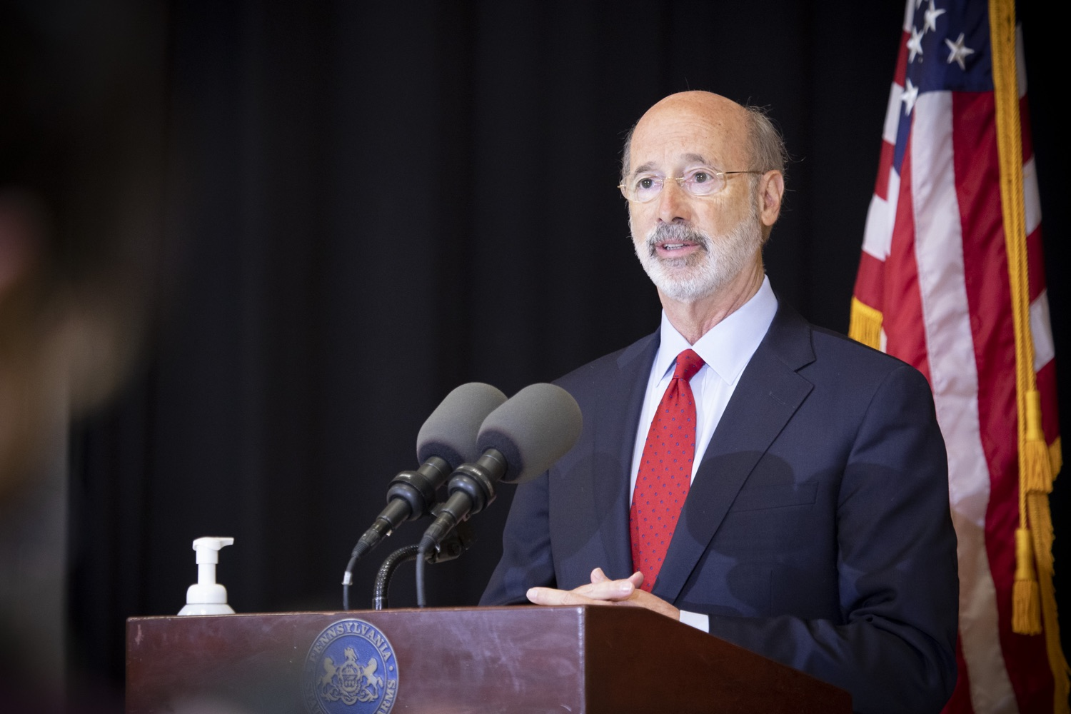 """<a href=""""https://filesource.wostreaming.net/commonwealthofpa/photo/18310_gov_adult_use_cannabis_dz_015.jpg"""" target=""""_blank"""">⇣Download Photo<br></a>Governor Tom Wolf speaks to the press.Governor Tom Wolf visited The Mountain Center in Tobyhanna, Monroe County today to talk about the economic growth potential and restorative justice benefits of legalizing adult-use cannabis, something the state General Assembly has not yet done despite multiple requests from the governor and Lieutenant Governor John Fetterman to take up legislation this fall.  Tobyhanna, PA  October 13, 2020"""