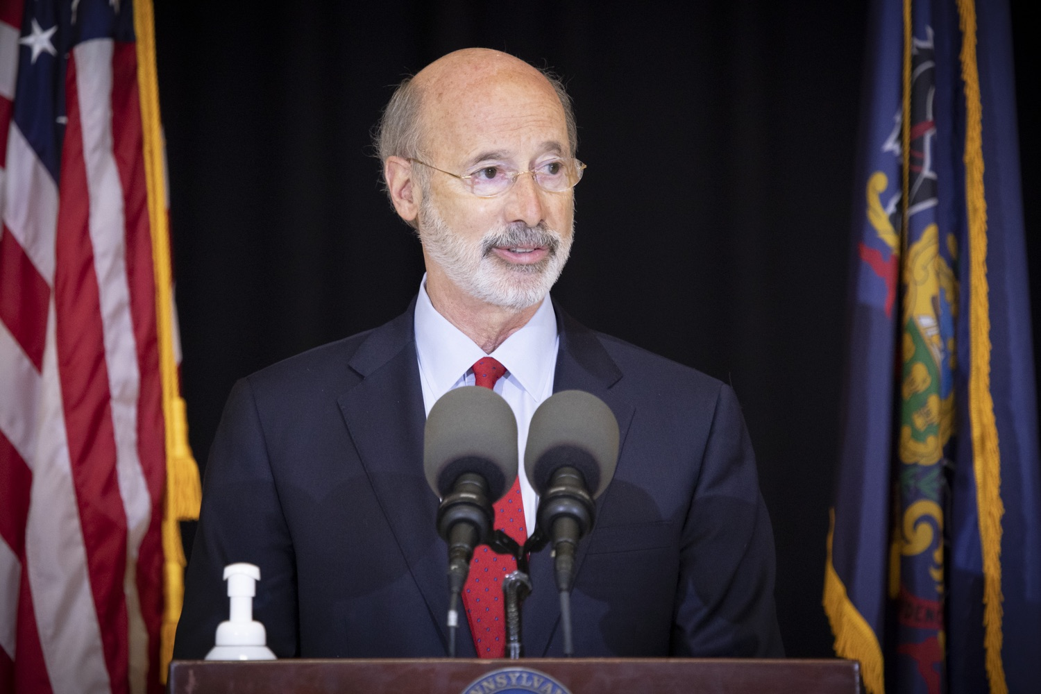 """<a href=""""https://filesource.wostreaming.net/commonwealthofpa/photo/18310_gov_adult_use_cannabis_dz_016.jpg"""" target=""""_blank"""">⇣Download Photo<br></a>Governor Tom Wolf speaks to the press.Governor Tom Wolf visited The Mountain Center in Tobyhanna, Monroe County today to talk about the economic growth potential and restorative justice benefits of legalizing adult-use cannabis, something the state General Assembly has not yet done despite multiple requests from the governor and Lieutenant Governor John Fetterman to take up legislation this fall.  Tobyhanna, PA  October 13, 2020"""