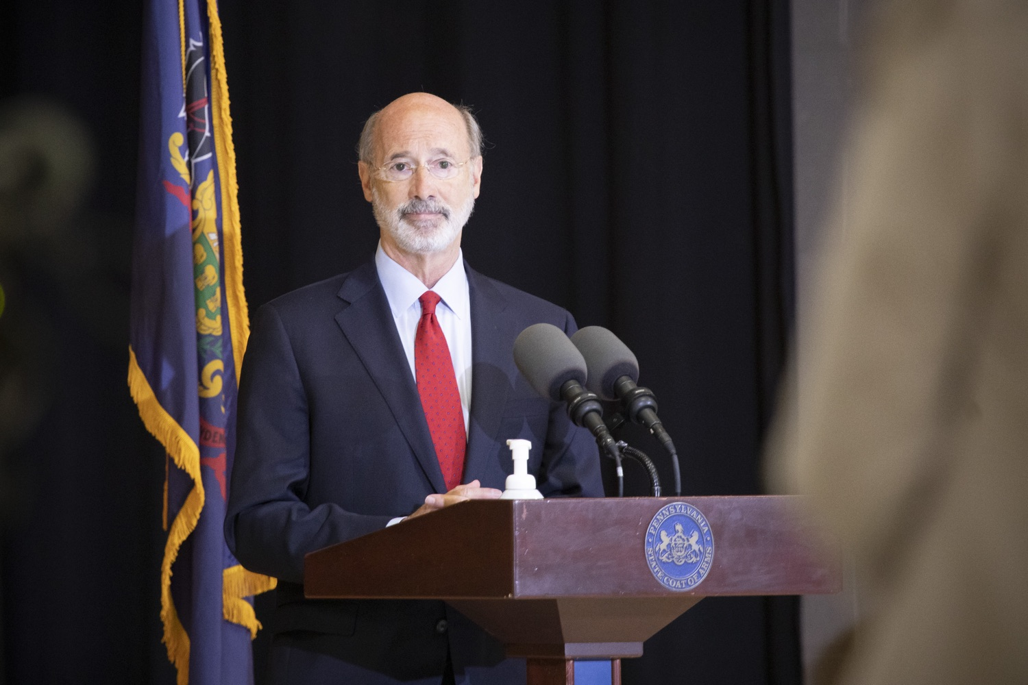 "<a href=""https://filesource.wostreaming.net/commonwealthofpa/photo/18310_gov_adult_use_cannabis_dz_017.jpg"" target=""_blank"">⇣ Download Photo<br></a>Governor Tom Wolf speaks to the press.Governor Tom Wolf visited The Mountain Center in Tobyhanna, Monroe County today to talk about the economic growth potential and restorative justice benefits of legalizing adult-use cannabis, something the state General Assembly has not yet done despite multiple requests from the governor and Lieutenant Governor John Fetterman to take up legislation this fall.  Tobyhanna, PA  October 13, 2020"