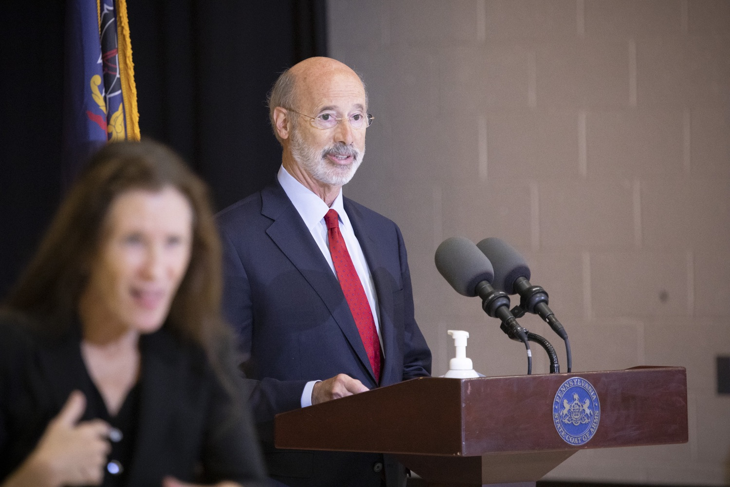 """<a href=""""https://filesource.wostreaming.net/commonwealthofpa/photo/18310_gov_adult_use_cannabis_dz_020.jpg"""" target=""""_blank"""">⇣Download Photo<br></a>Governor Tom Wolf speaks to the press.Governor Tom Wolf visited The Mountain Center in Tobyhanna, Monroe County today to talk about the economic growth potential and restorative justice benefits of legalizing adult-use cannabis, something the state General Assembly has not yet done despite multiple requests from the governor and Lieutenant Governor John Fetterman to take up legislation this fall.  Tobyhanna, PA  October 13, 2020"""