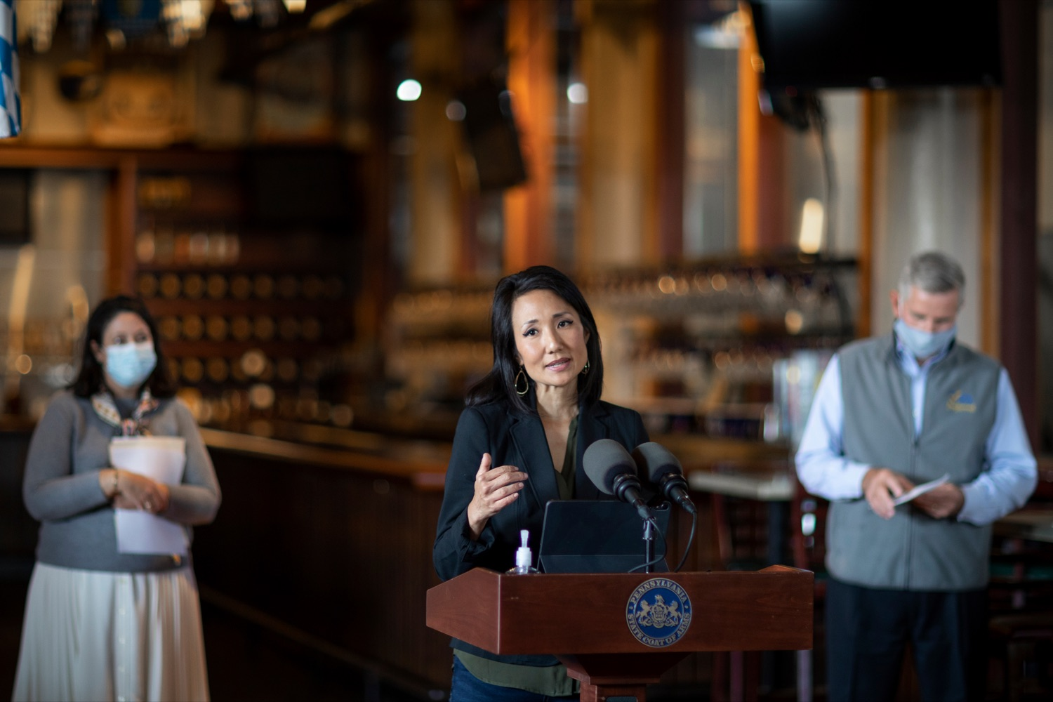 """<a href=""""https://filesource.wostreaming.net/commonwealthofpa/photo/18312_AGRIC_SelfCertification_NK_003.jpg"""" target=""""_blank"""">⇣Download Photo<br></a>State Rep. Patty Kim speaks during a press conference, which reminded Pennsylvania restaurants of the benefits of joining Open & Certified Pennsylvania, inside of Appalachian Brewing Company in Harrisburg on Thursday, October 15, 2020. More than 7,500 restaurants have self-certified  by completing a quick, easy online self-certification application  confirming that theyre taking every precaution, following all health guidelines, and keeping safety a top priority."""