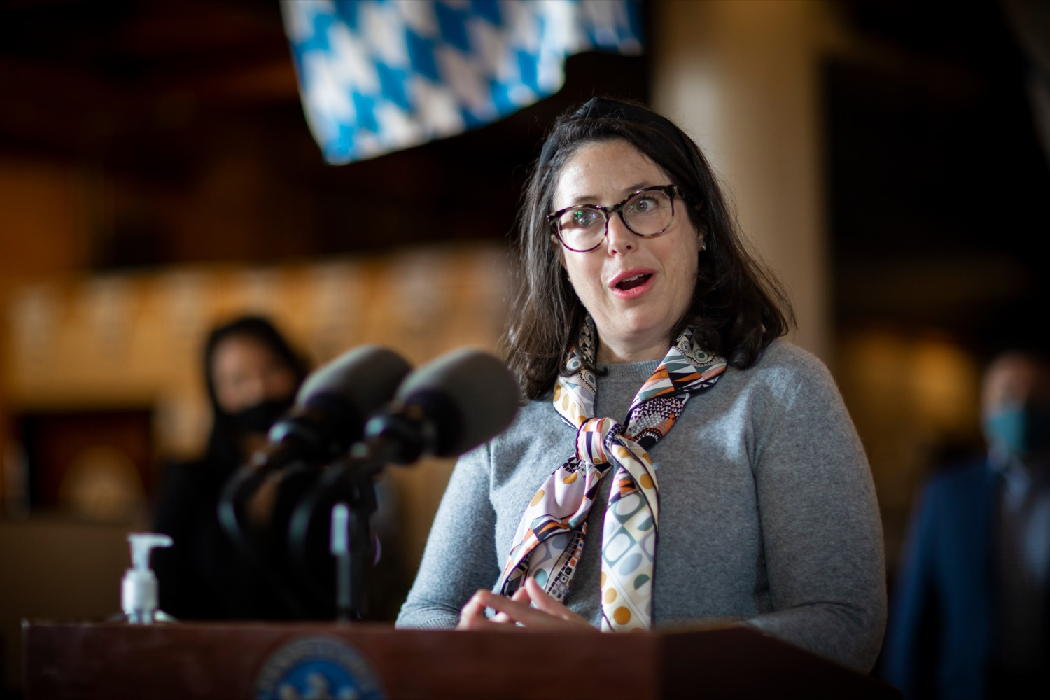 """<a href=""""https://filesource.wostreaming.net/commonwealthofpa/photo/18312_AGRIC_SelfCertification_NK_014.jpg"""" target=""""_blank"""">⇣Download Photo<br></a>Department of Community and Economic Development Deputy Secretary Carrie Lepore speaks during a press conference, which reminded Pennsylvania restaurants of the benefits of joining Open & Certified Pennsylvania, inside of Appalachian Brewing Company in Harrisburg on Thursday, October 15, 2020. More than 7,500 restaurants have self-certified  by completing a quick, easy online self-certification application  confirming that theyre taking every precaution, following all health guidelines, and keeping safety a top priority."""