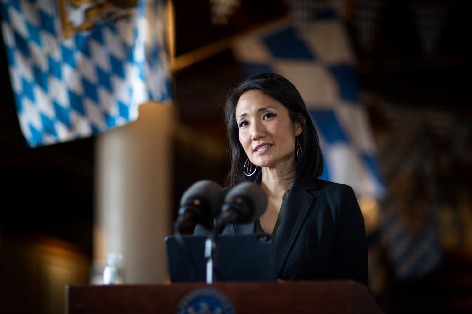 """<a href=""""https://filesource.wostreaming.net/commonwealthofpa/photo/18312_AGRIC_SelfCertification_NK_015.jpg"""" target=""""_blank"""">⇣Download Photo<br></a>State Rep. Patty Kim speaks during a press conference, which reminded Pennsylvania restaurants of the benefits of joining Open & Certified Pennsylvania, inside of Appalachian Brewing Company in Harrisburg on Thursday, October 15, 2020. More than 7,500 restaurants have self-certified  by completing a quick, easy online self-certification application  confirming that theyre taking every precaution, following all health guidelines, and keeping safety a top priority."""