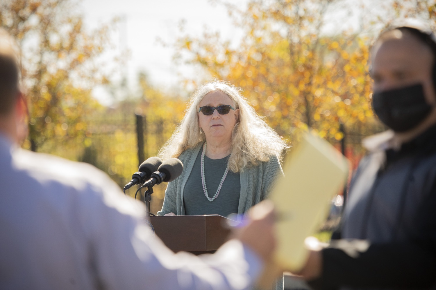 """<a href=""""https://filesource.wostreaming.net/commonwealthofpa/photo/18316_doh_covid19_dz_015.jpg"""" target=""""_blank"""">⇣Download Photo<br></a>Dr. Rachel Levine, Pennsylvania Secretary of Health answers questions from the press.  The Wolf Administration today began distributing the first allotment of 250,000 COVID-19 antigen test kits provided by the federal government to Clinical Laboratory Improvement Amendments (CLIA)-certified institutions across Pennsylvania. Distribution is starting with Bradford, Centre, Lebanon, Montour, Northumberland, Schuylkill and Snyder counties because of the recent high disease incidence rate in these areas. Harrisburg, PA  October 14, 2020"""