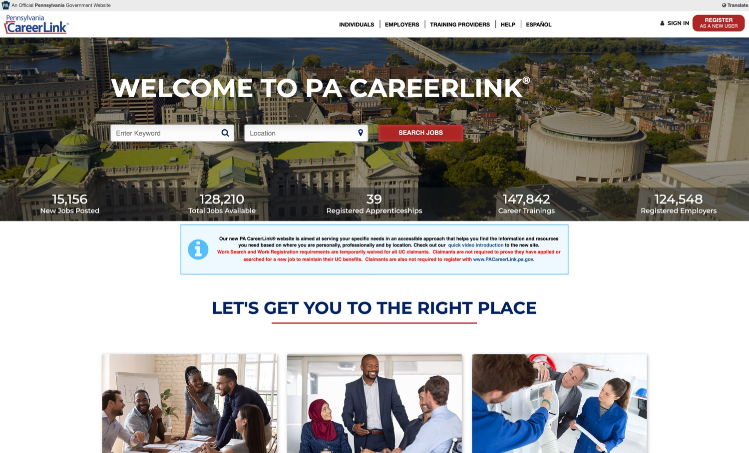 """<a href=""""https://filesource.wostreaming.net/commonwealthofpa/photo/18317_LI_CareerLink_NK_001.jpg"""" target=""""_blank"""">⇣Download Photo<br></a>The new CareerLink website is pictured."""