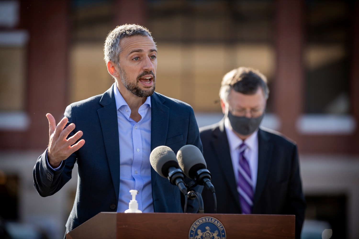 """<a href=""""https://filesource.wostreaming.net/commonwealthofpa/photo/18317_LI_CareerLink_NK_014.jpg"""" target=""""_blank"""">⇣Download Photo<br></a>Jesse McCree, CEO of SCPa Works, speaks during a press conference, which announced a redesigned PA CareerLink® website, outside of Pa CareerLink Capitol Region on Wednesday, October 14, 2020."""