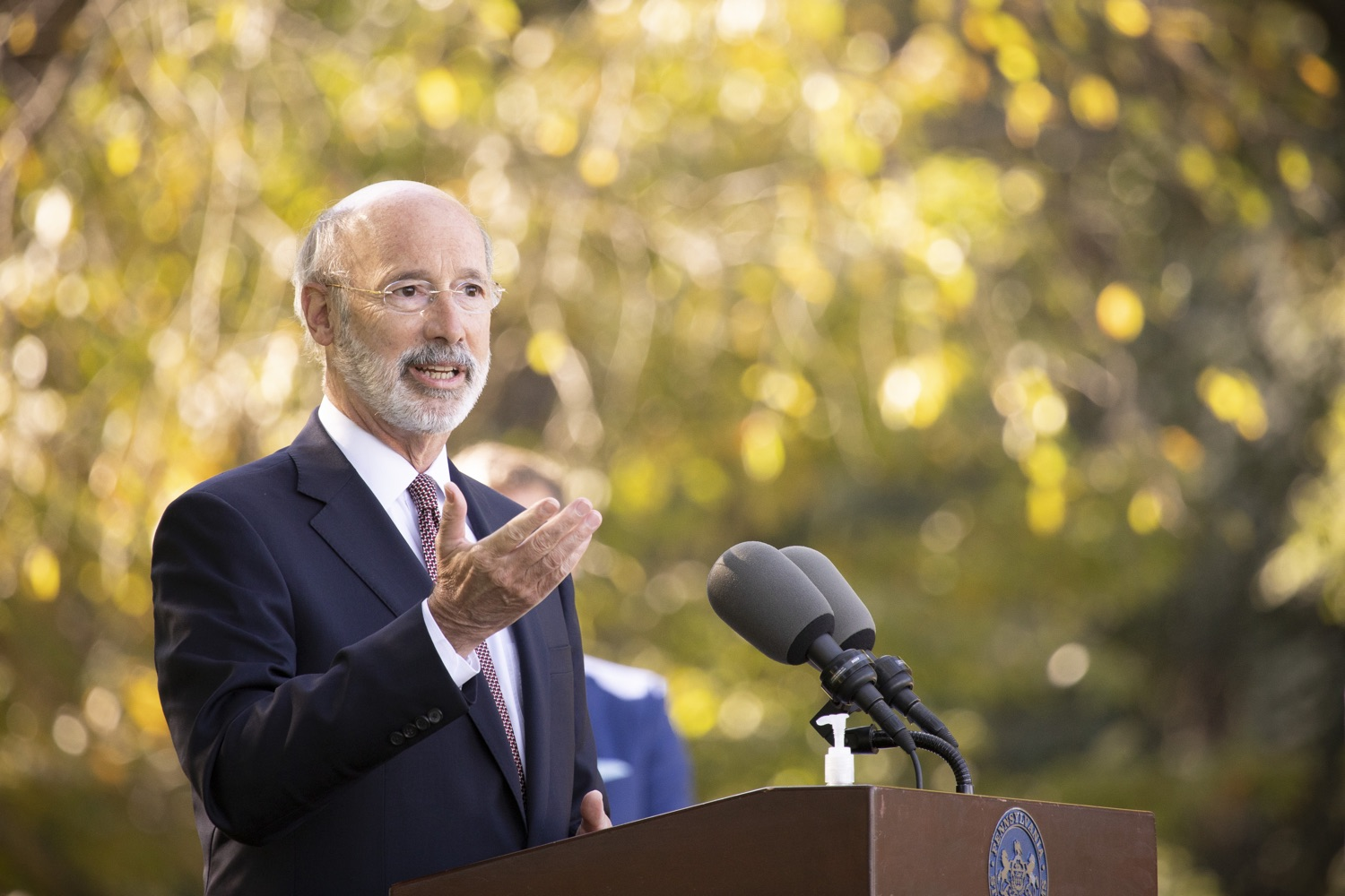 "<a href=""https://filesource.wostreaming.net/commonwealthofpa/photo/18321_gov_aca_dz_001.jpg"" target=""_blank"">⇣ Download Photo<br></a>Pennsylvania Governor Tom Wolf speaking to the press.  As the number of positive COVID-19 cases rise in Pennsylvania and as we enter flu season, protecting the Affordable Care Act (ACA) and ensuring that all Pennsylvanians have access to health coverage are more important than ever, Governor Tom Wolf said today in Chester County. The governor was joined by local elected officials and representatives from local health care organizations. Landenberg, PA  October 15, 2020"