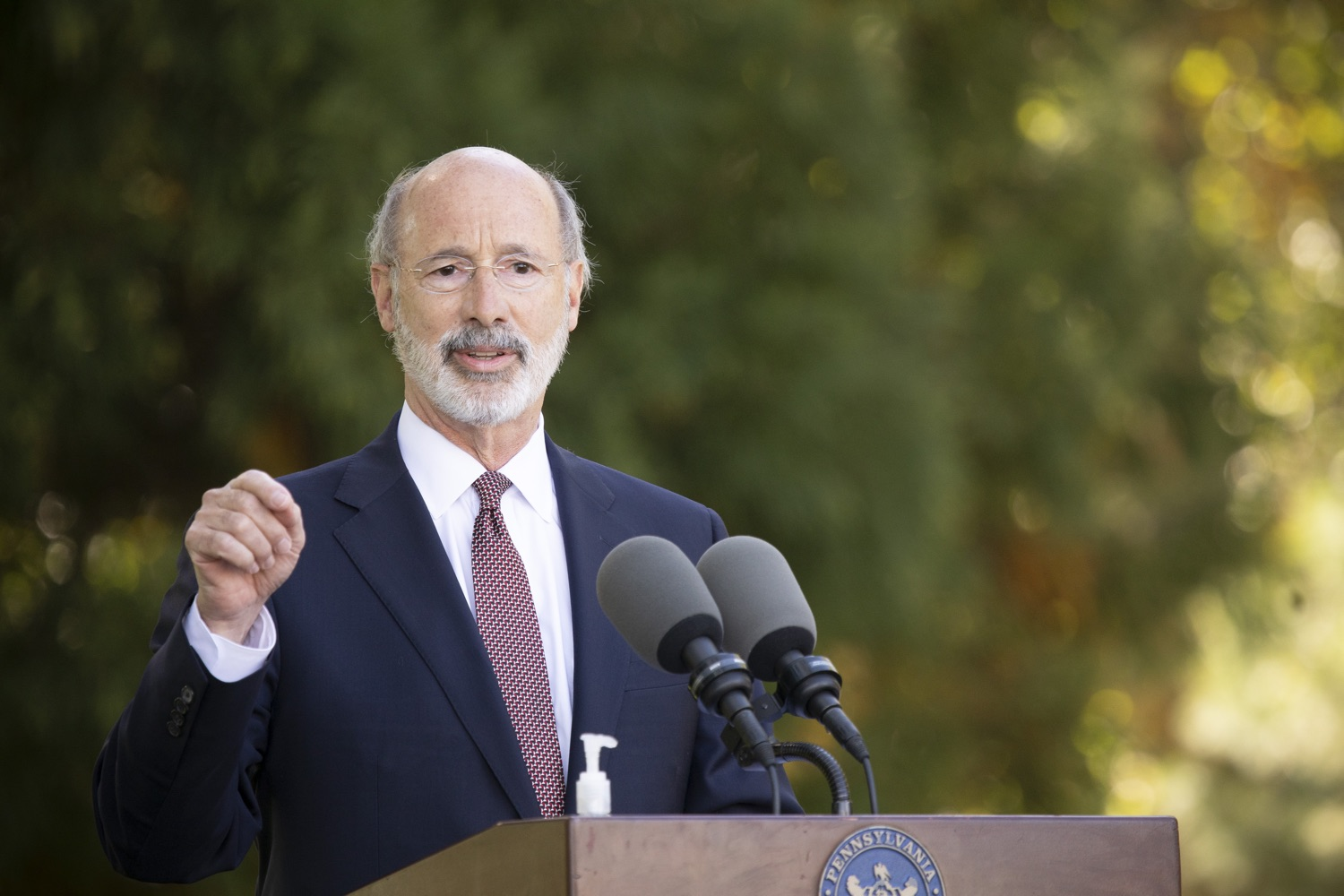 "<a href=""https://filesource.wostreaming.net/commonwealthofpa/photo/18321_gov_aca_dz_006.jpg"" target=""_blank"">⇣ Download Photo<br></a>Pennsylvania Governor Tom Wolf speaking to the press.  As the number of positive COVID-19 cases rise in Pennsylvania and as we enter flu season, protecting the Affordable Care Act (ACA) and ensuring that all Pennsylvanians have access to health coverage are more important than ever, Governor Tom Wolf said today in Chester County. The governor was joined by local elected officials and representatives from local health care organizations. Landenberg, PA  October 15, 2020"