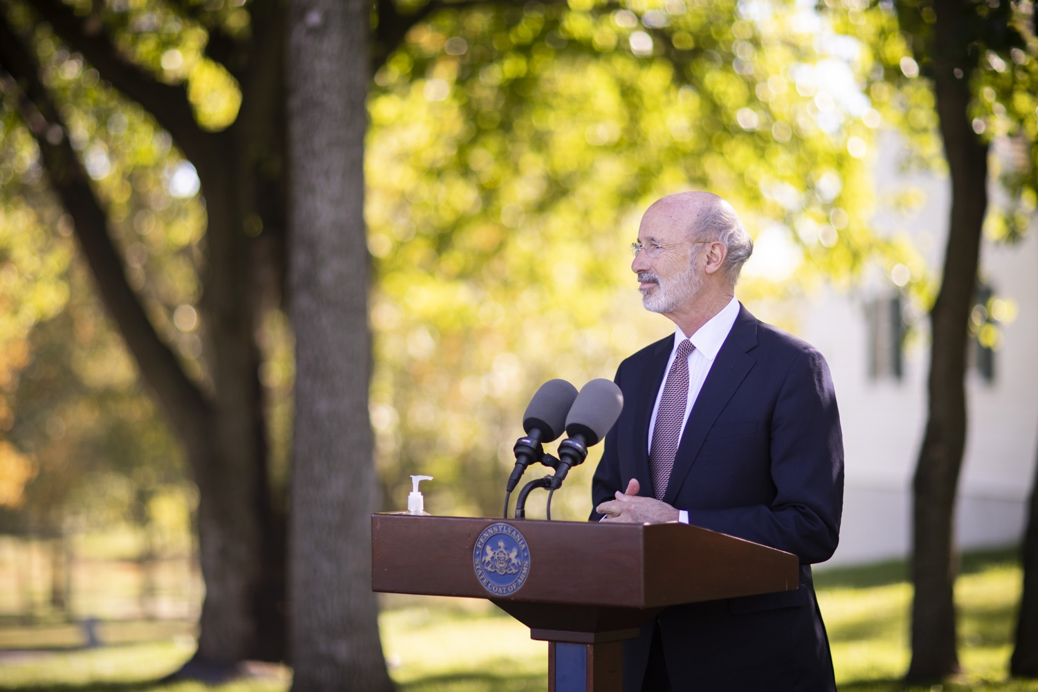 "<a href=""https://filesource.wostreaming.net/commonwealthofpa/photo/18321_gov_aca_dz_012.jpg"" target=""_blank"">⇣ Download Photo<br></a>Pennsylvania Governor Tom Wolf speaking to the press.  As the number of positive COVID-19 cases rise in Pennsylvania and as we enter flu season, protecting the Affordable Care Act (ACA) and ensuring that all Pennsylvanians have access to health coverage are more important than ever, Governor Tom Wolf said today in Chester County. The governor was joined by local elected officials and representatives from local health care organizations. Landenberg, PA  October 15, 2020"