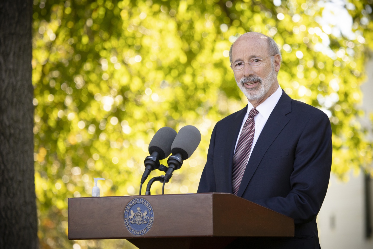 "<a href=""https://filesource.wostreaming.net/commonwealthofpa/photo/18321_gov_aca_dz_016.jpg"" target=""_blank"">⇣ Download Photo<br></a>Pennsylvania Governor Tom Wolf speaking to the press.  As the number of positive COVID-19 cases rise in Pennsylvania and as we enter flu season, protecting the Affordable Care Act (ACA) and ensuring that all Pennsylvanians have access to health coverage are more important than ever, Governor Tom Wolf said today in Chester County. The governor was joined by local elected officials and representatives from local health care organizations. Landenberg, PA  October 15, 2020"