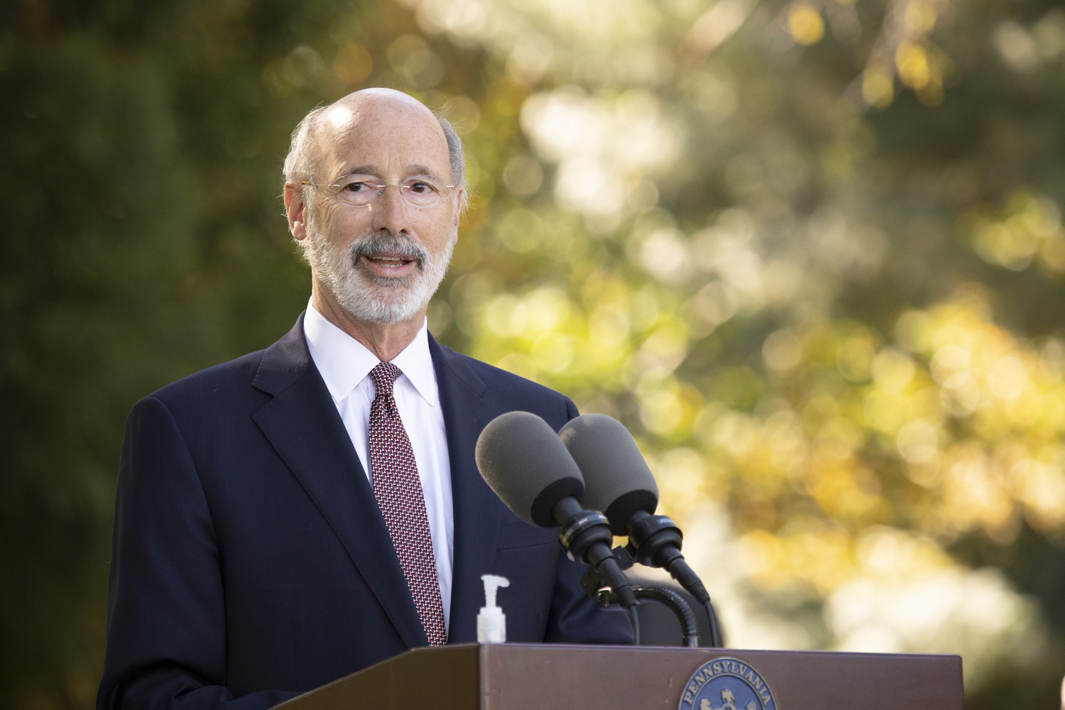 "<a href=""https://filesource.wostreaming.net/commonwealthofpa/photo/18321_gov_aca_dz_017.jpg"" target=""_blank"">⇣ Download Photo<br></a>Pennsylvania Governor Tom Wolf speaking to the press.  As the number of positive COVID-19 cases rise in Pennsylvania and as we enter flu season, protecting the Affordable Care Act (ACA) and ensuring that all Pennsylvanians have access to health coverage are more important than ever, Governor Tom Wolf said today in Chester County. The governor was joined by local elected officials and representatives from local health care organizations. Landenberg, PA  October 15, 2020"