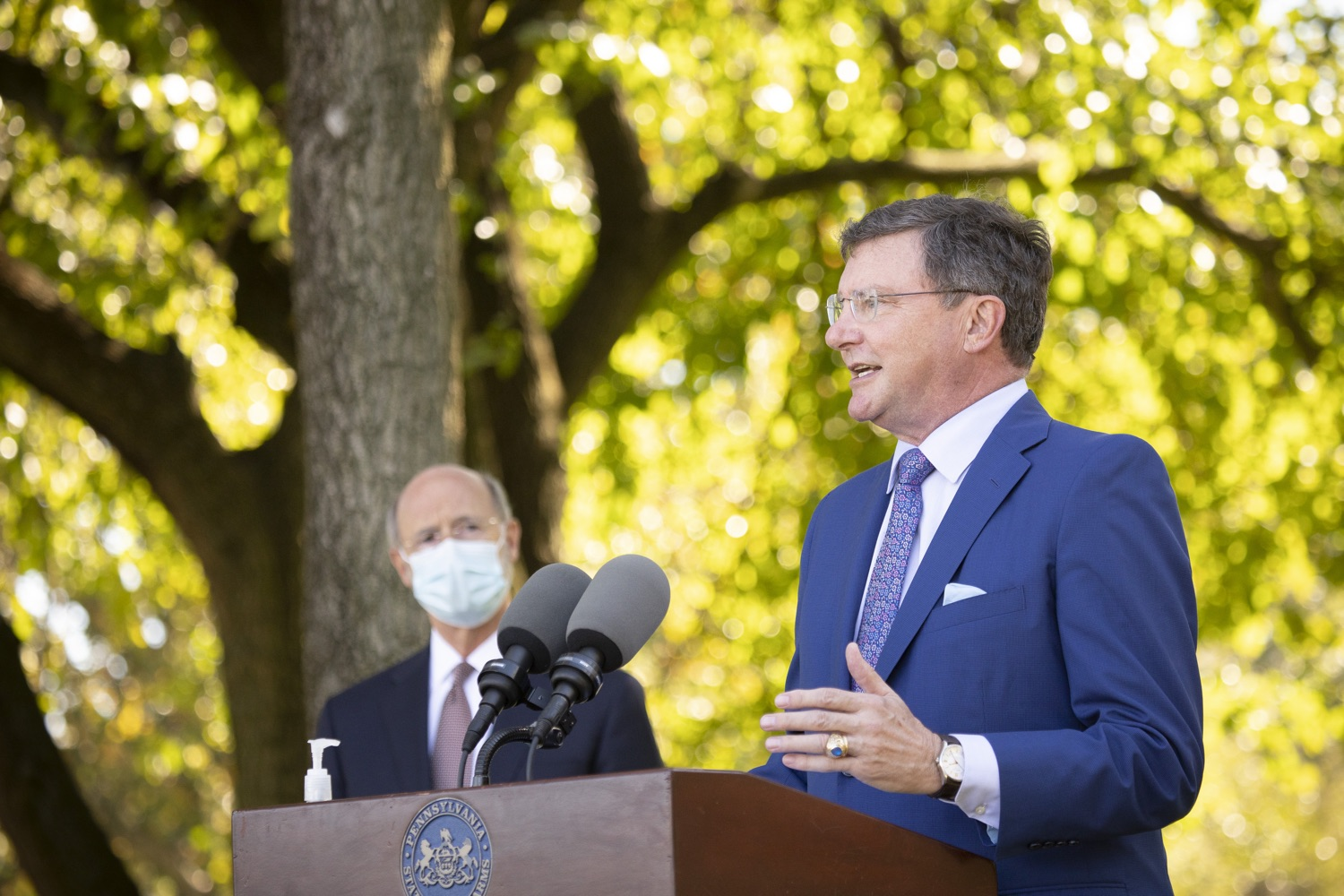 "<a href=""https://filesource.wostreaming.net/commonwealthofpa/photo/18321_gov_aca_dz_019.jpg"" target=""_blank"">⇣ Download Photo<br></a>Michael Duncan, President and CEO, Chester County Hospital, speaking to the press.  As the number of positive COVID-19 cases rise in Pennsylvania and as we enter flu season, protecting the Affordable Care Act (ACA) and ensuring that all Pennsylvanians have access to health coverage are more important than ever, Governor Tom Wolf said today in Chester County. The governor was joined by local elected officials and representatives from local health care organizations. Landenberg, PA  October 15, 2020"