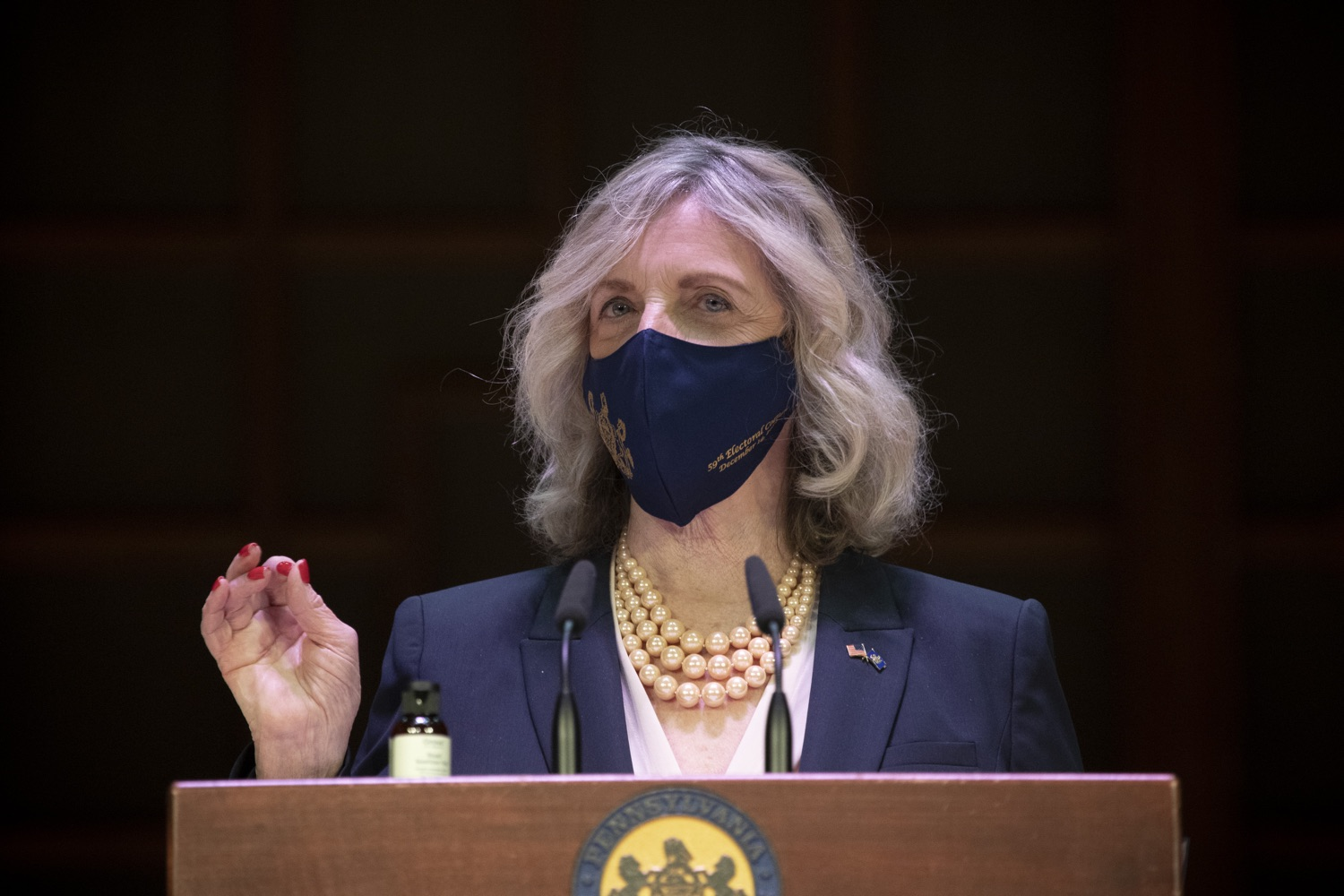 """<a href=""""https://filesource.wostreaming.net/commonwealthofpa/photo/18323_59_electoral_college_dz_008.jpg"""" target=""""_blank"""">⇣Download Photo<br></a>Nancy Mills of Allegheny County, President of this Electoral College speaking.  Secretary of State Kathy Boockvar presided over the 59th Pennsylvania Electoral College meeting at noon today, during which the commonwealths 20 electors unanimously voted for Joseph R. Biden for president and Kamala D. Harris for vice president of the United States.  Harrisburg, PA  December 14, 2020"""