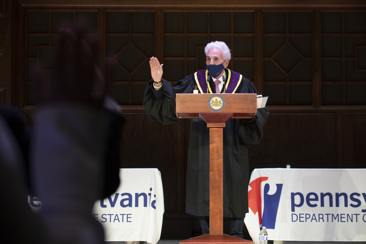 """<a href=""""https://filesource.wostreaming.net/commonwealthofpa/photo/18323_59_electoral_college_dz_023.jpg"""" target=""""_blank"""">⇣Download Photo<br></a>Justice Max Baer swearing in Electors. Secretary of State Kathy Boockvar presided over the 59th Pennsylvania Electoral College meeting at noon today, during which the commonwealths 20 electors unanimously voted for Joseph R. Biden for president and Kamala D. Harris for vice president of the United States.  Harrisburg, PA  December 14, 2020"""