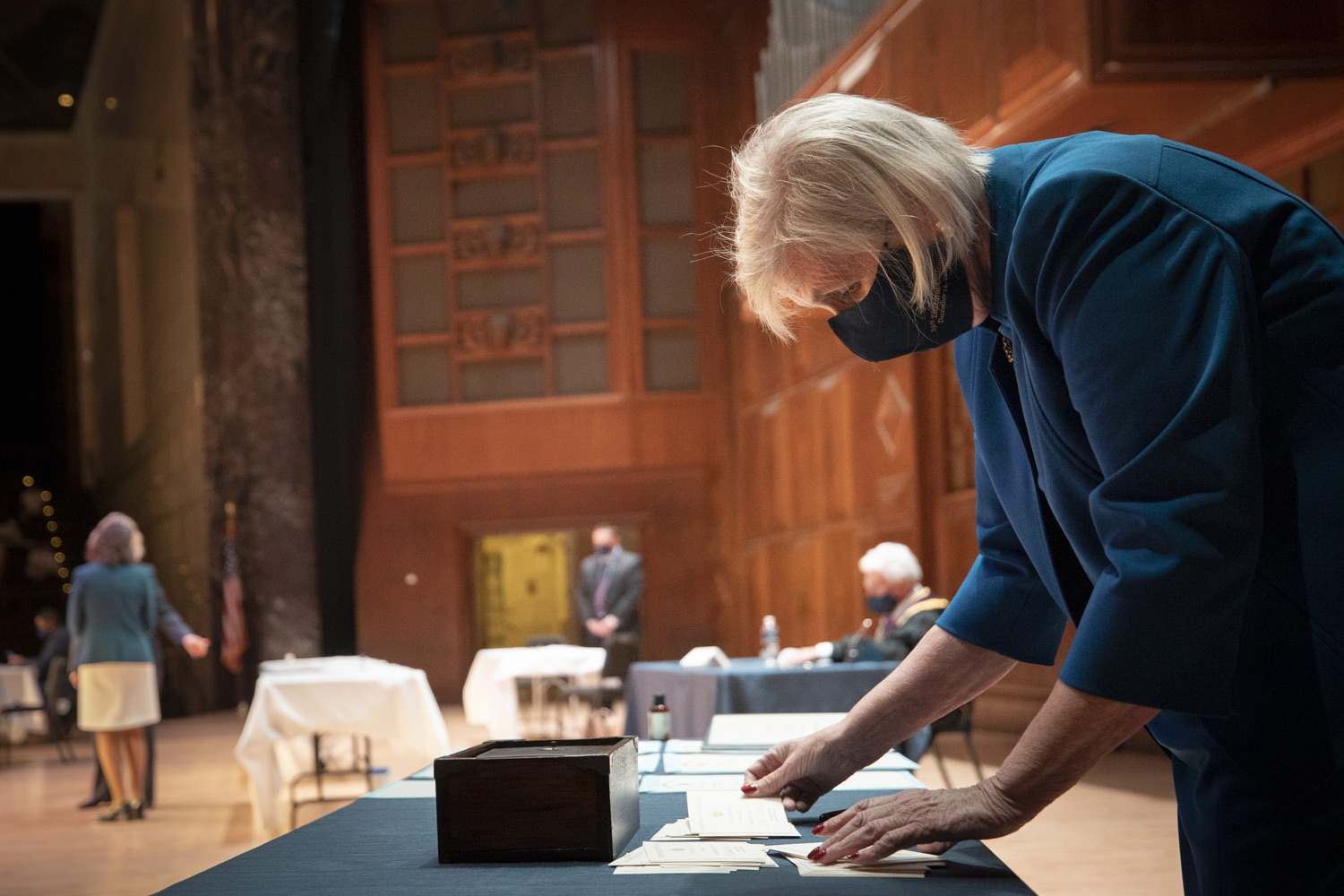 """<a href=""""https://filesource.wostreaming.net/commonwealthofpa/photo/18323_59_electoral_college_dz_028.jpg"""" target=""""_blank"""">⇣Download Photo<br></a>Teller, Mary Esther Van Shura, counting ballots.  Secretary of State Kathy Boockvar presided over the 59th Pennsylvania Electoral College meeting at noon today, during which the commonwealths 20 electors unanimously voted for Joseph R. Biden for president and Kamala D. Harris for vice president of the United States.  Harrisburg, PA  December 14, 2020"""