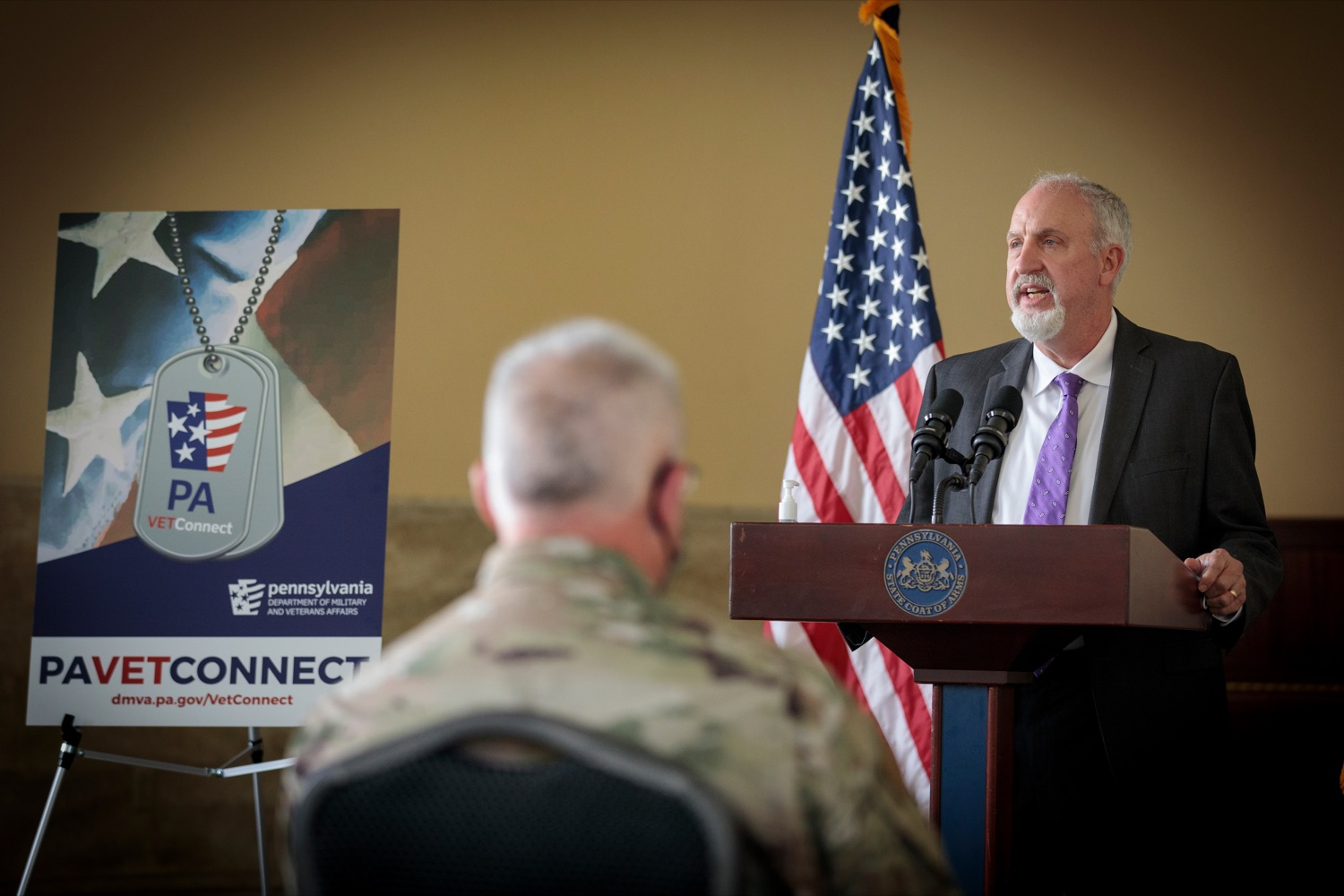 "<a href=""https://filesource.wostreaming.net/commonwealthofpa/photo/18376_DMVA_VET_Connect_NK_005.jpg"" target=""_blank"">⇣ Download Photo<br></a>Bill Reed, director of veterans services for YWCA Greater Harrisburg, speaks during a press conference announcing the launch of PA VETConnect, a statewide outreach initiative designed to better serve the commonwealths nearly 800,000 veterans, on Monday, November 9, 2020."