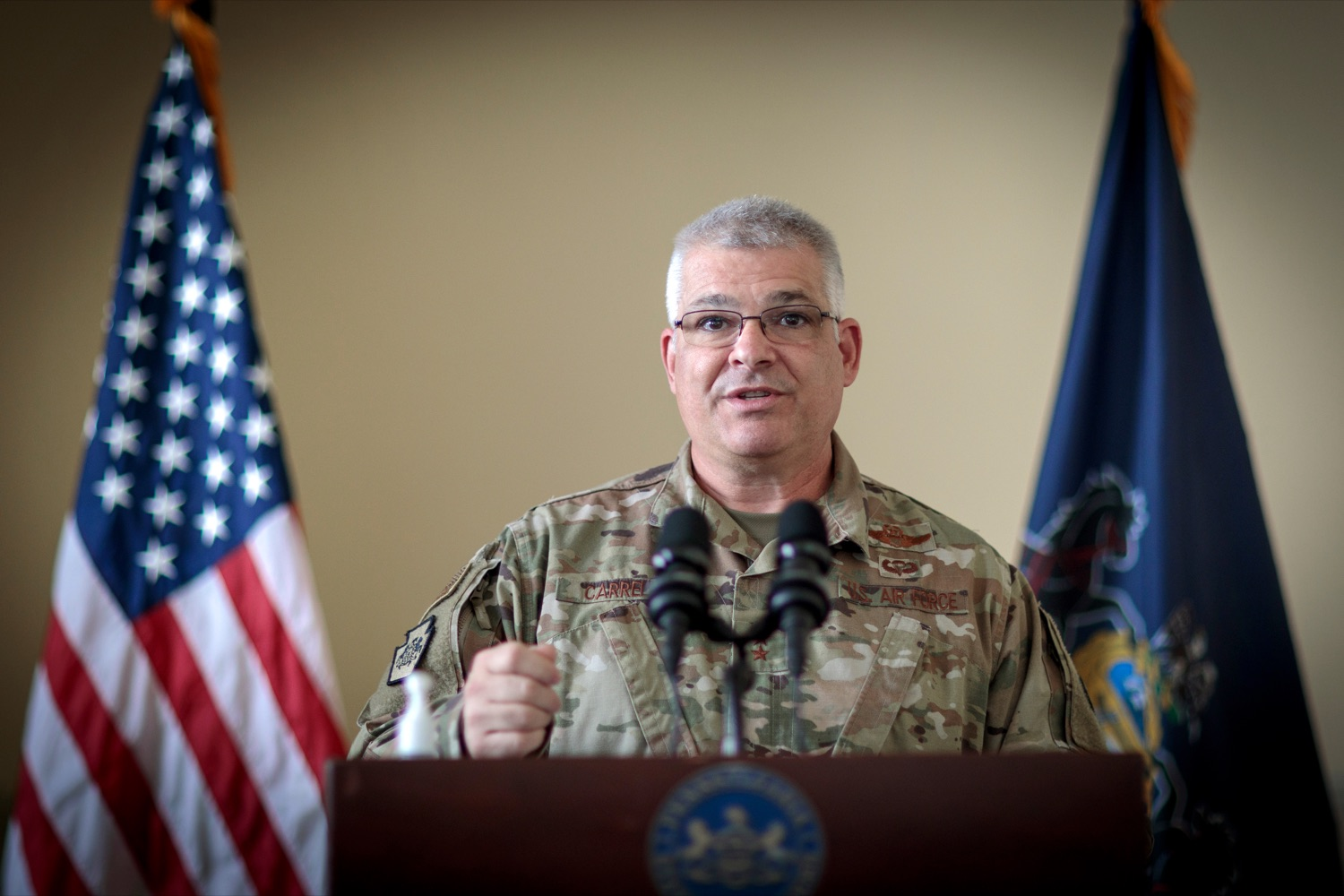 "<a href=""https://filesource.wostreaming.net/commonwealthofpa/photo/18376_DMVA_VET_Connect_NK_006.jpg"" target=""_blank"">⇣ Download Photo<br></a>Maj. Gen. Anthony Carrelli, Pennsylvanias adjutant general and head of the DMVA, speaks during a press conference announcing the launch of PA VETConnect, a statewide outreach initiative designed to better serve the commonwealths nearly 800,000 veterans, on Monday, November 9, 2020."