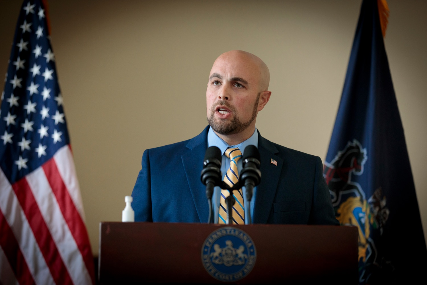 "<a href=""https://filesource.wostreaming.net/commonwealthofpa/photo/18376_DMVA_VET_Connect_NK_011.jpg"" target=""_blank"">⇣ Download Photo<br></a>Justin Slep. director of Veteran Affairs for Franklin County, speaks during a press conference announcing the launch of PA VETConnect, a statewide outreach initiative designed to better serve the commonwealths nearly 800,000 veterans, on Monday, November 9, 2020."